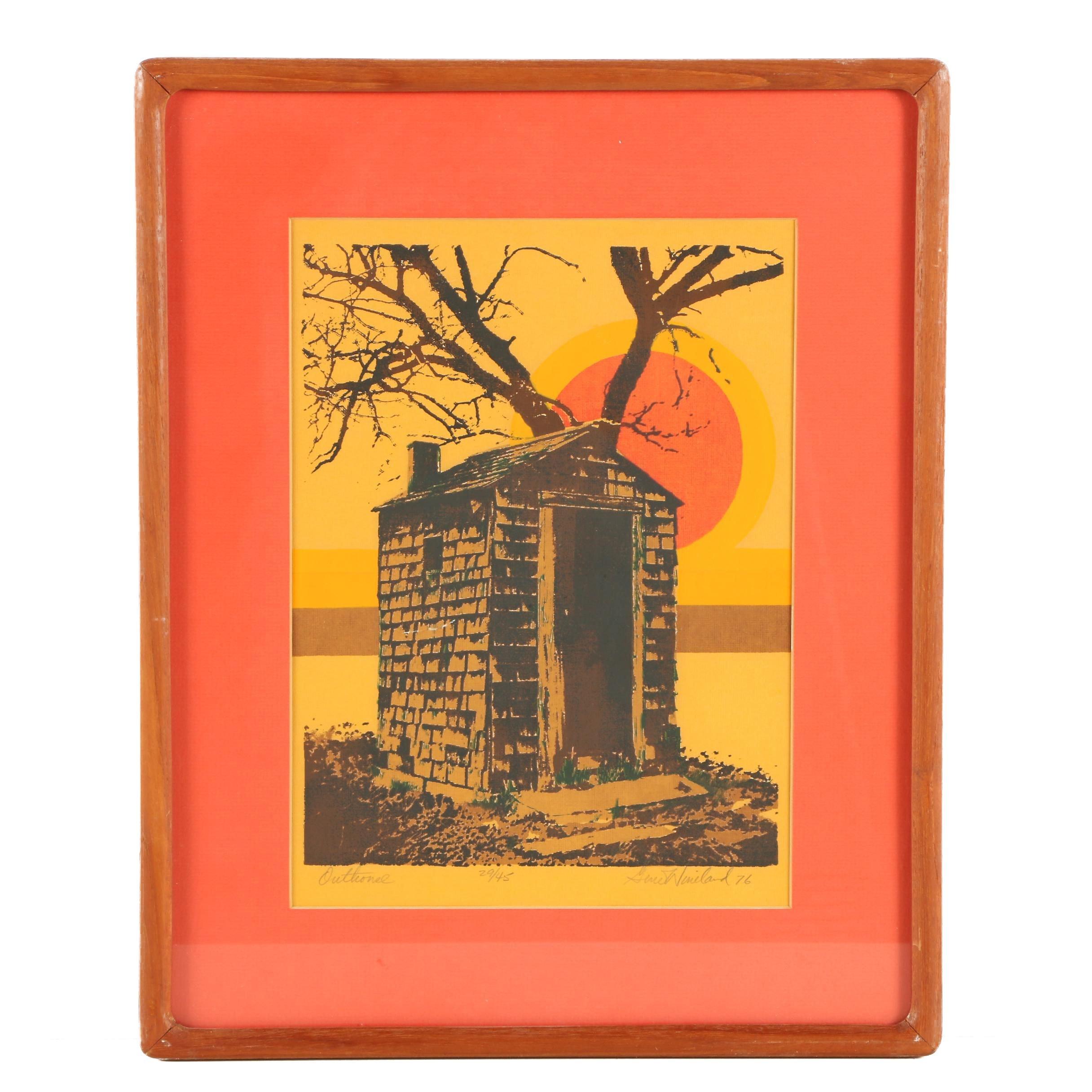 "Gene Wineland Serigraph Print ""Outhouse"""