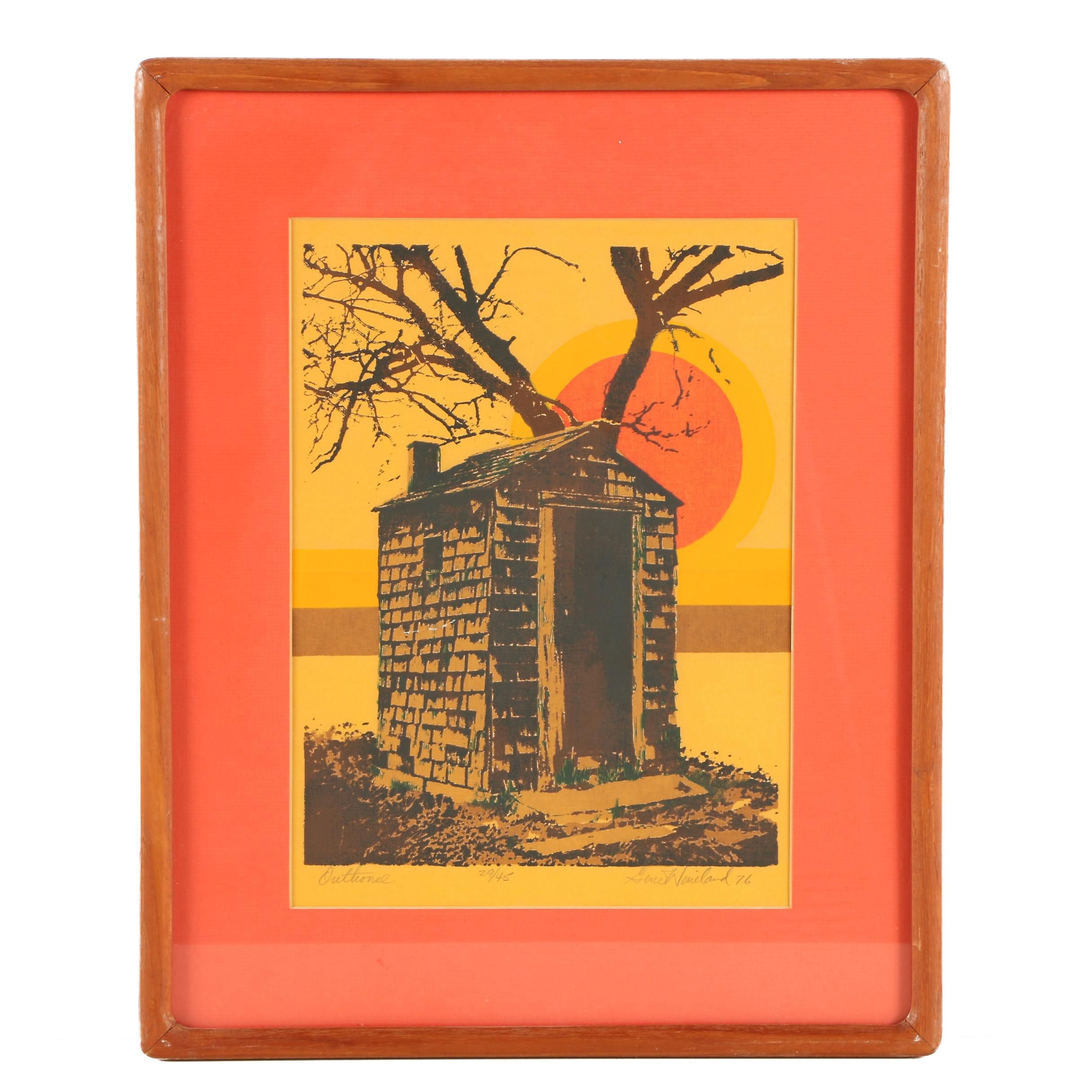"Gene Wineland Serigraph Print ""Outhouse"""