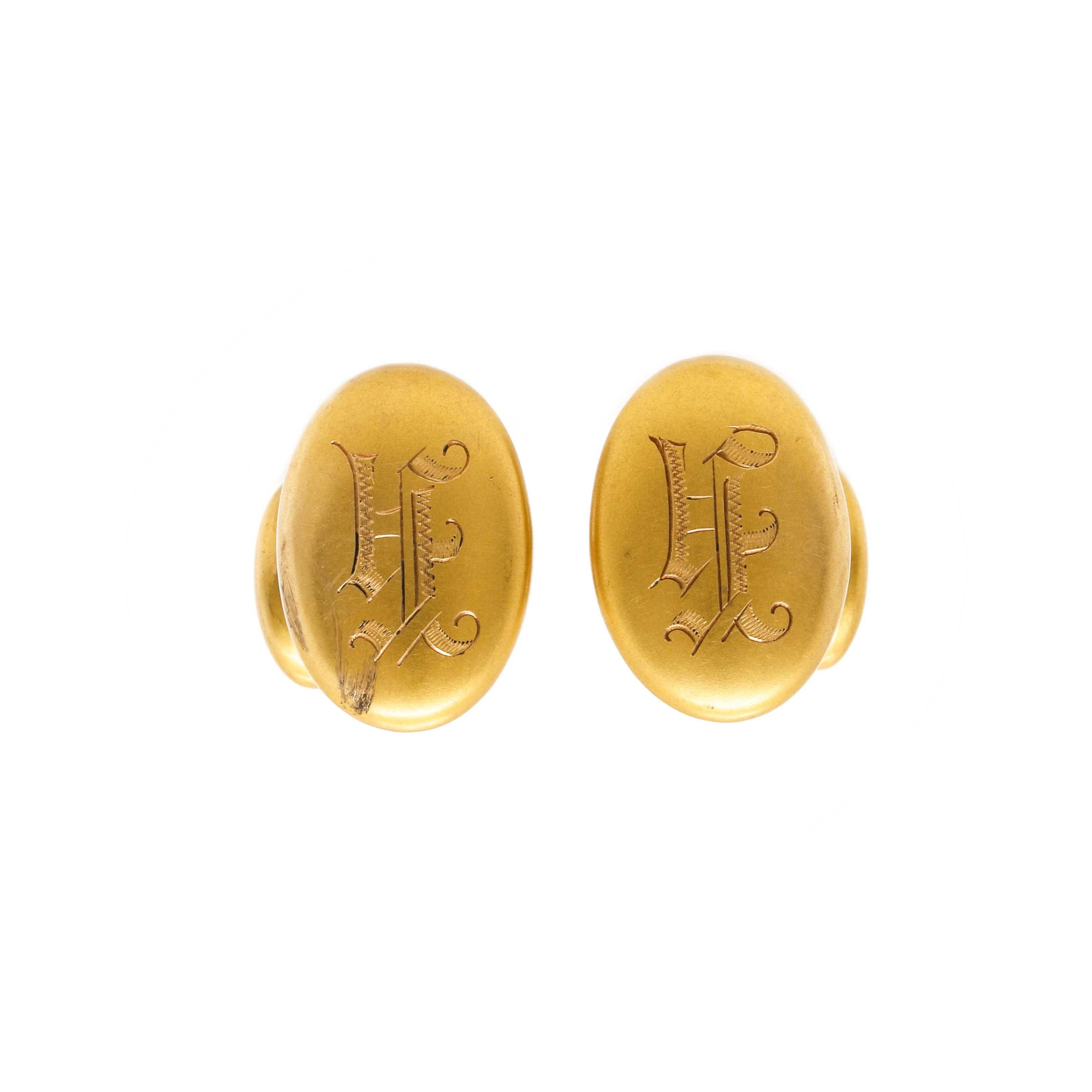 14K Yellow Gold Engraved Cufflinks