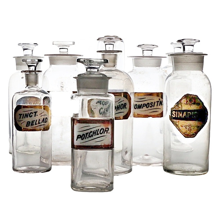 Antique Clear Glass Apothecary Jars, Including Label-Under-Glass Examples