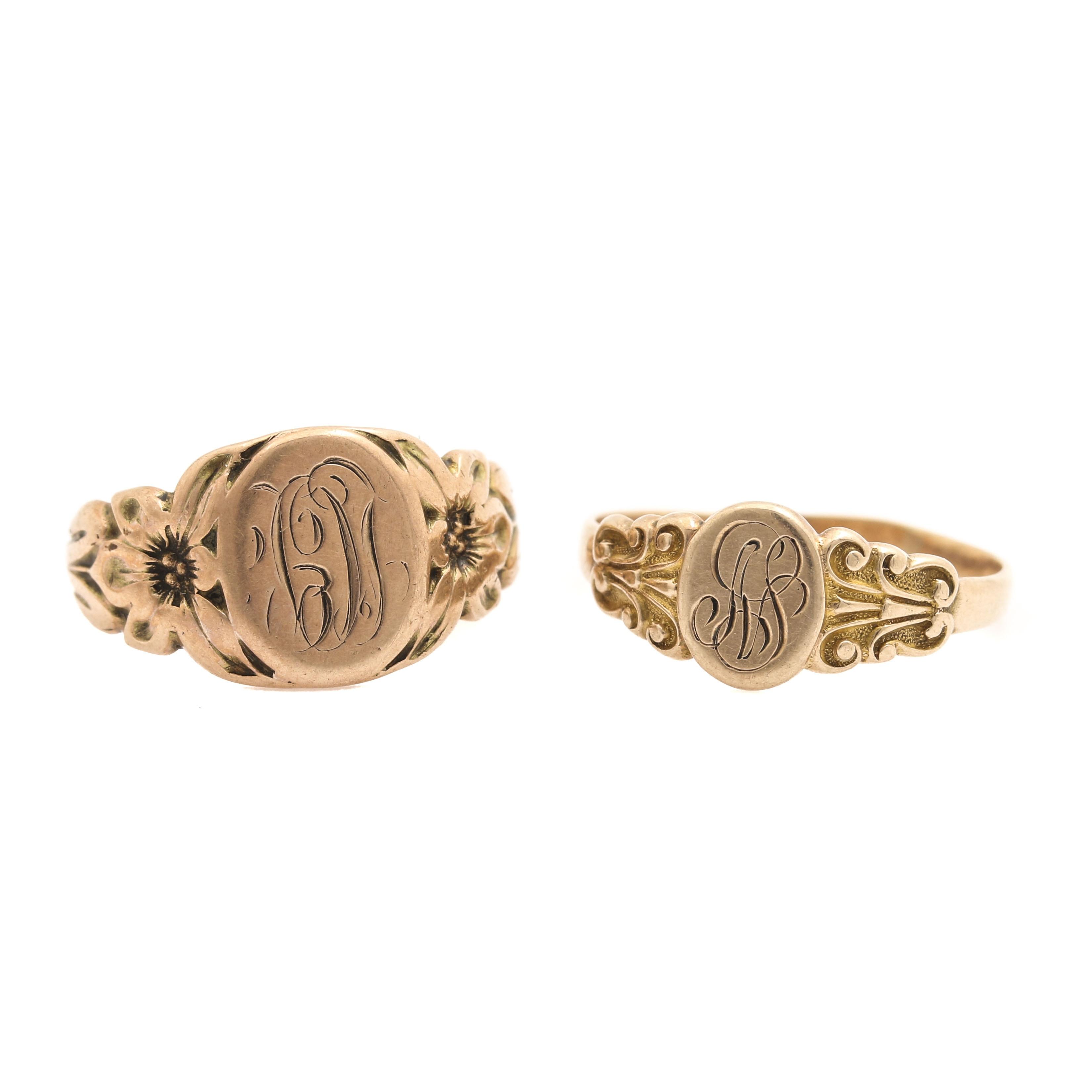 10K Yellow Gold Signet Ring Selection