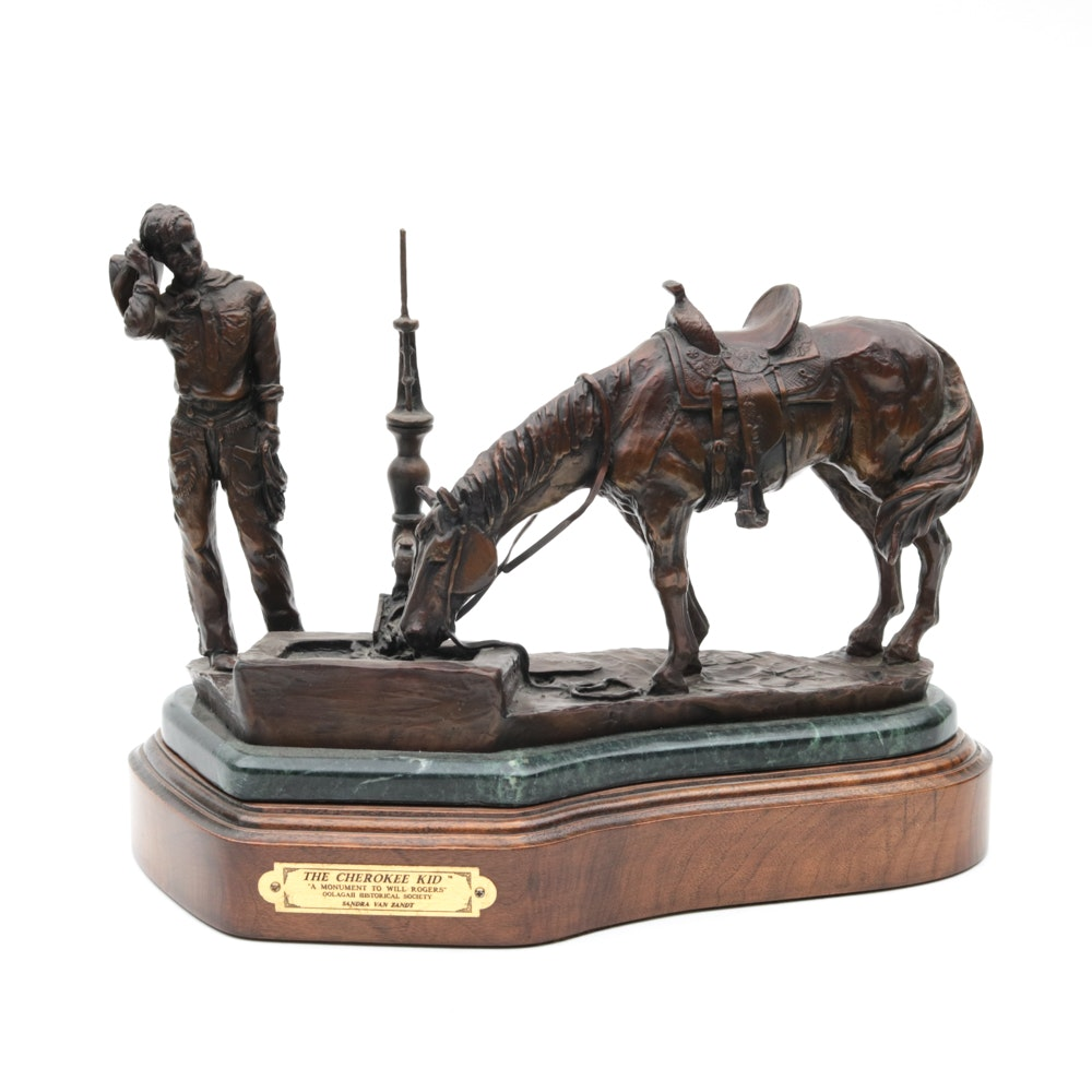 "Sandra Van Zandt Limited Edition Bronze Tone Sculpture ""The Cherokee Kid"""