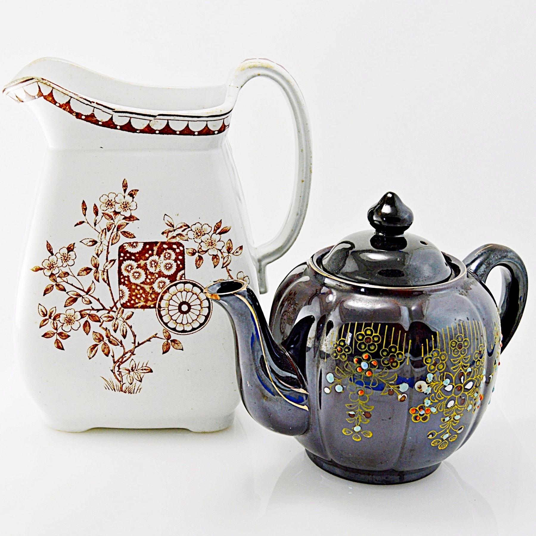 "Antique English Challinor ""Gordon"" Pitcher and Vintage Japanese Teapot"