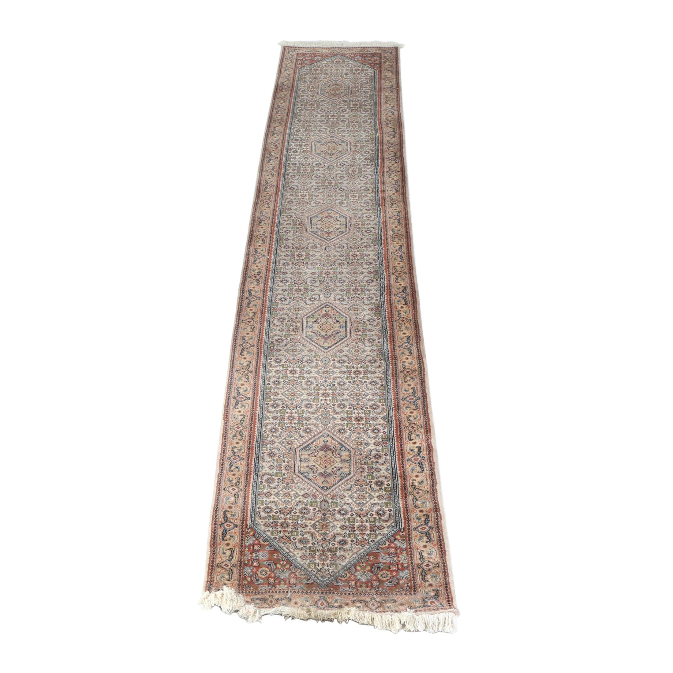 Hand-Knotted Indo-Persian Bijar Wool Palace Runner