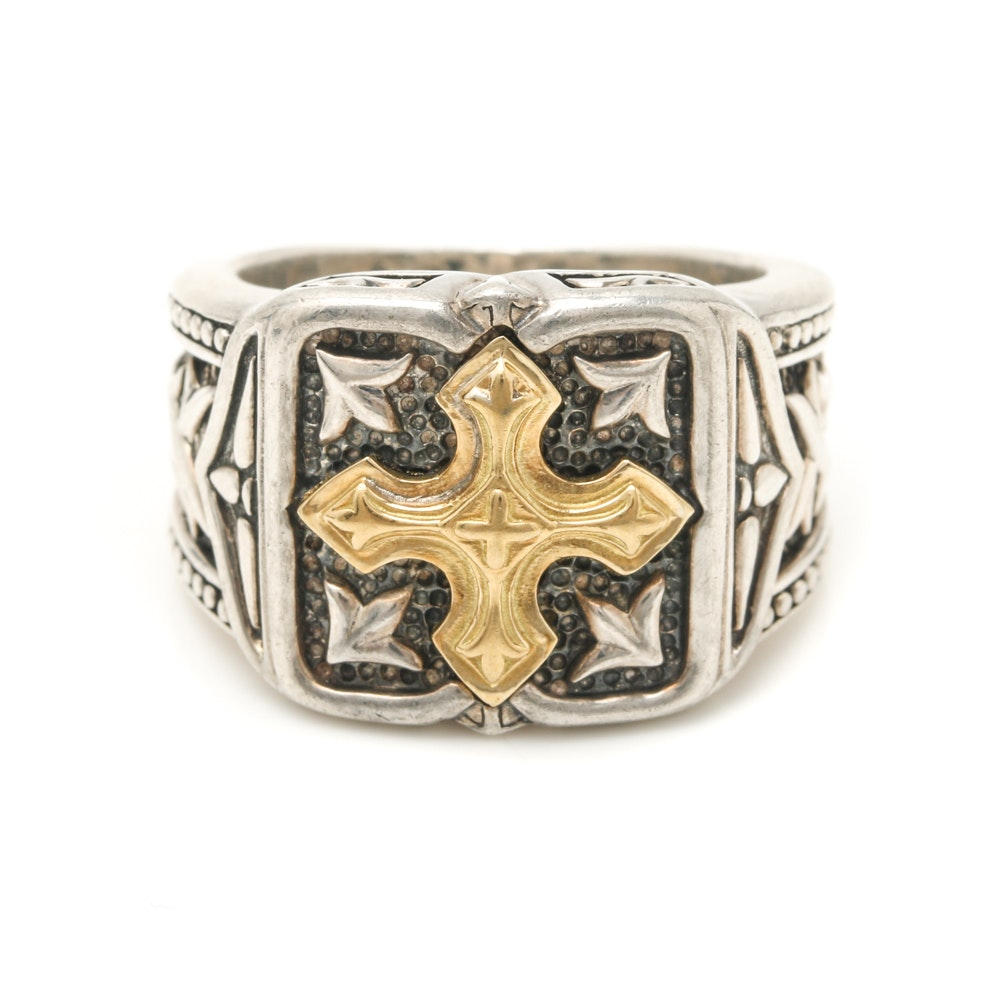 Scott Kay Sterling Silver and 18K Yellow Gold Gothic Cross Ring