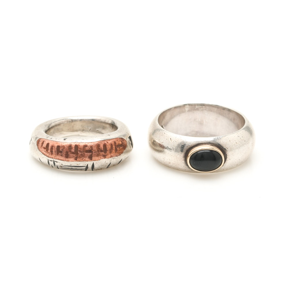 Sterling Silver Rings Featuring Black Onyx