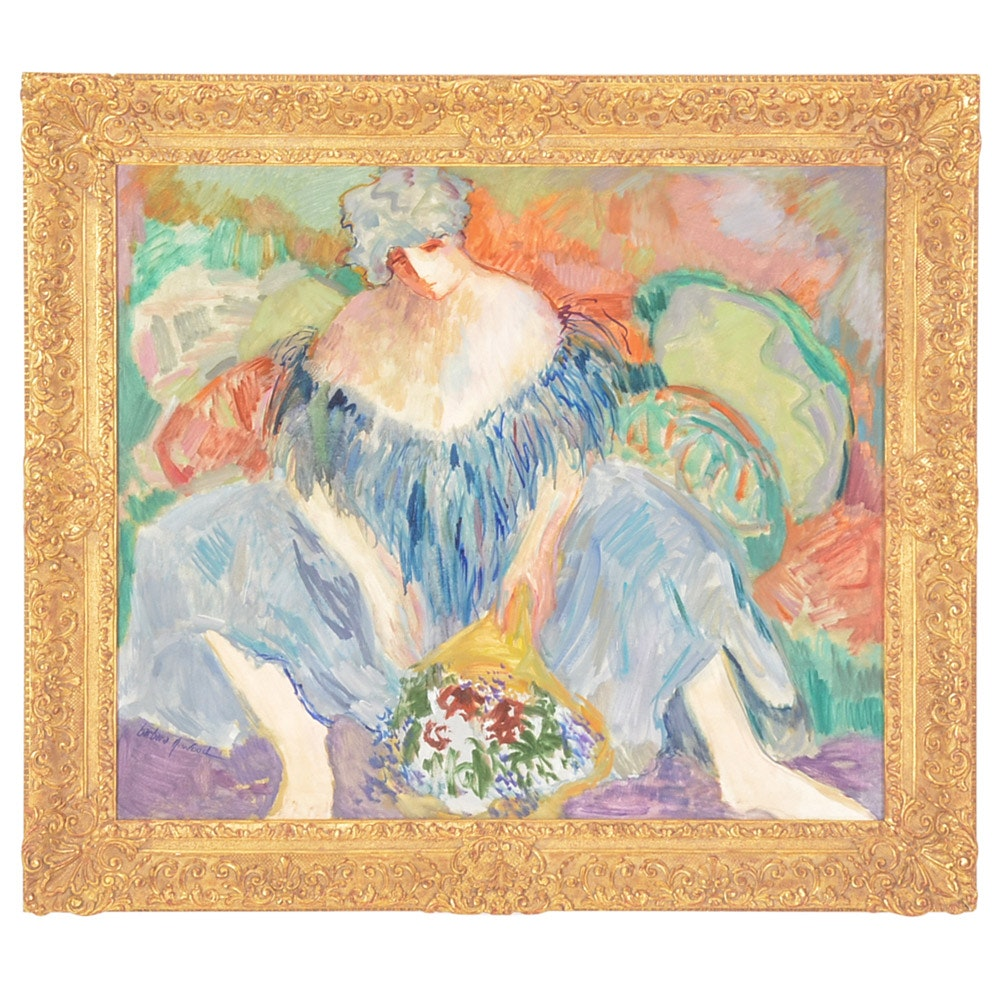 Barbara A. Wood Expressionist Oil Figure Painting on Canvas