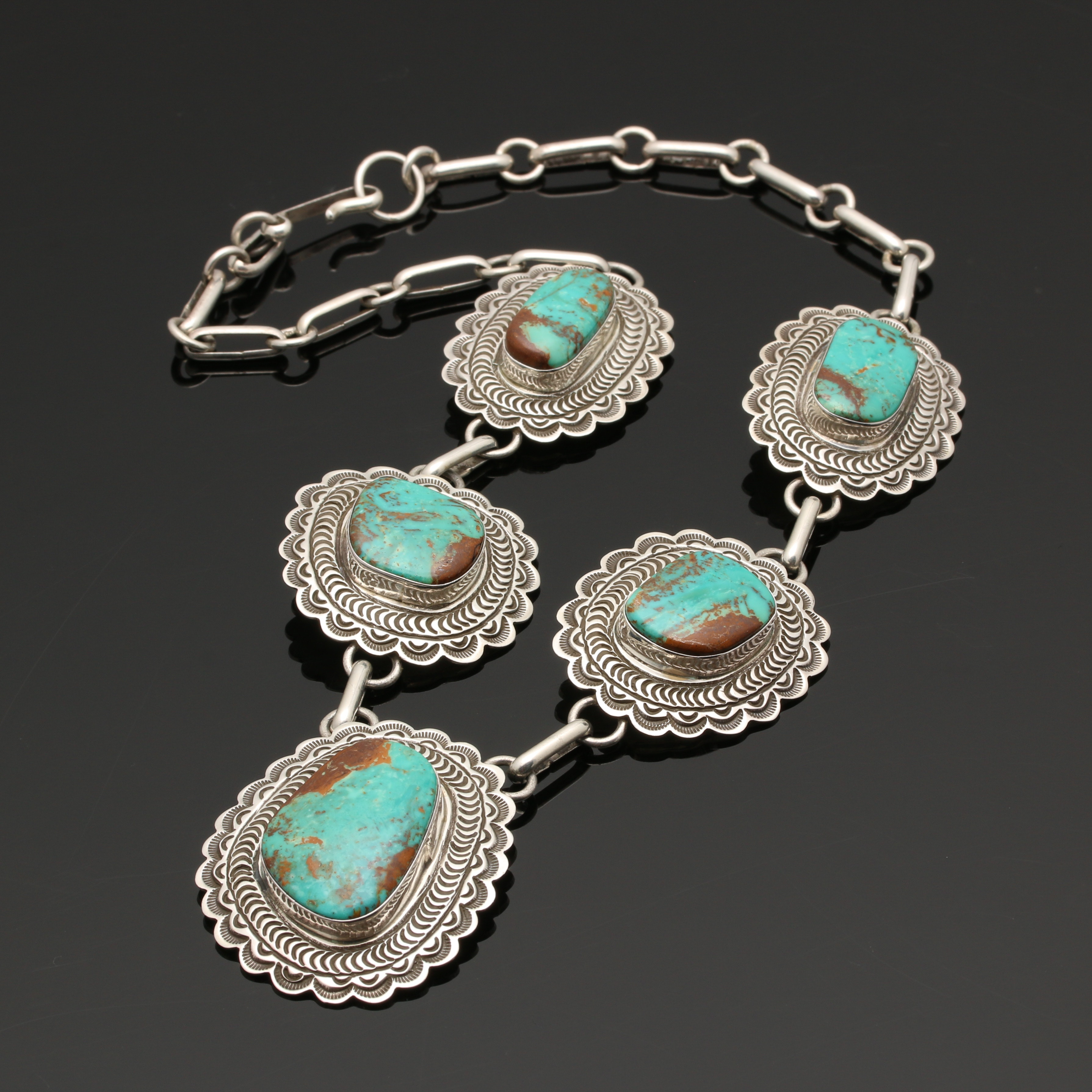 Alex Sanchez Native American Sterling Silver Turquoise Concho Necklace