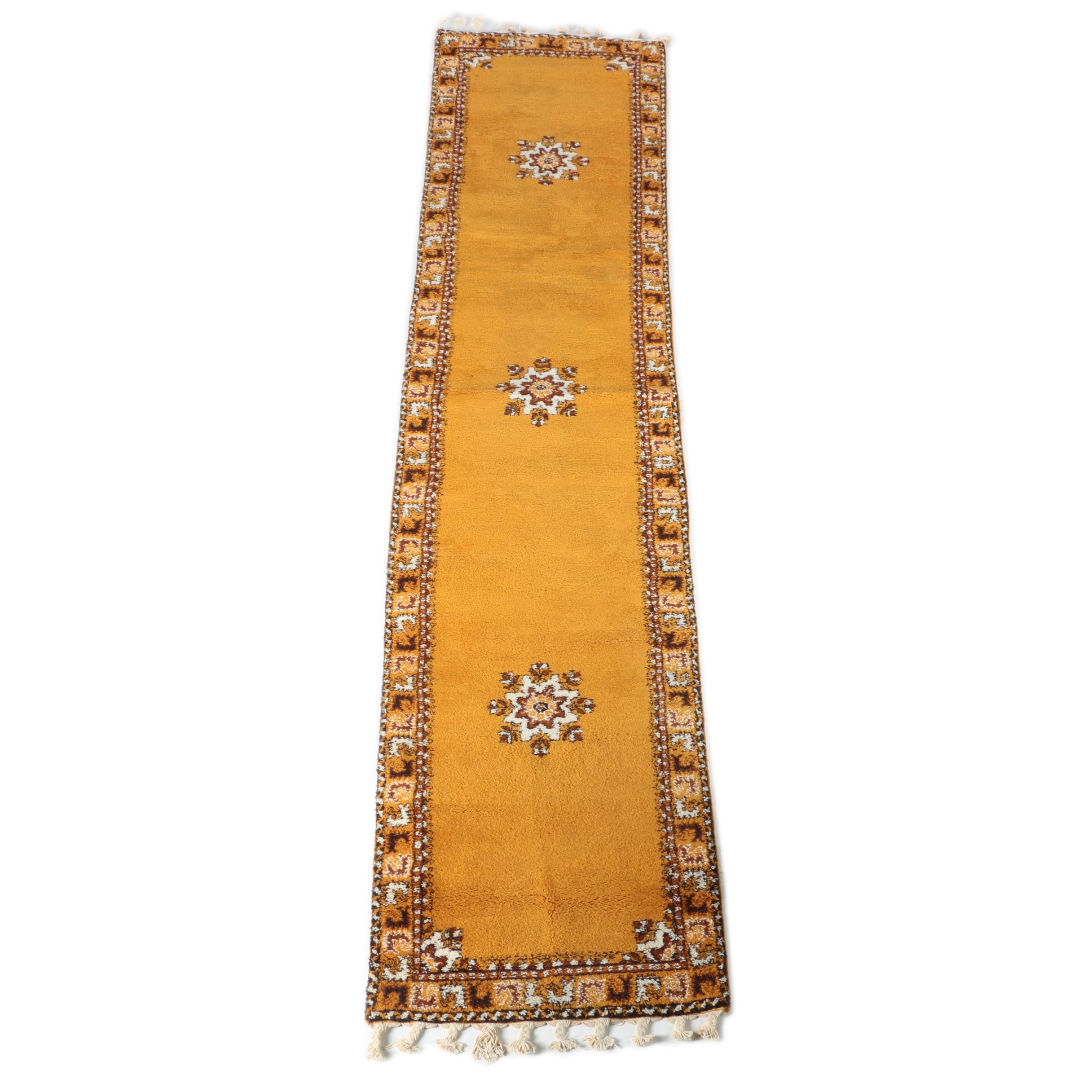 Hand-Knotted Moroccan Rabat Wool Carpet Runner