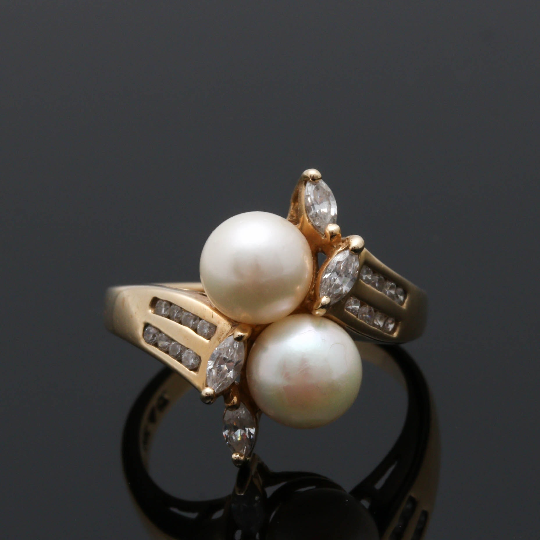 14K Yellow Gold Cultured Pearl and Cubic Zirconia Ring