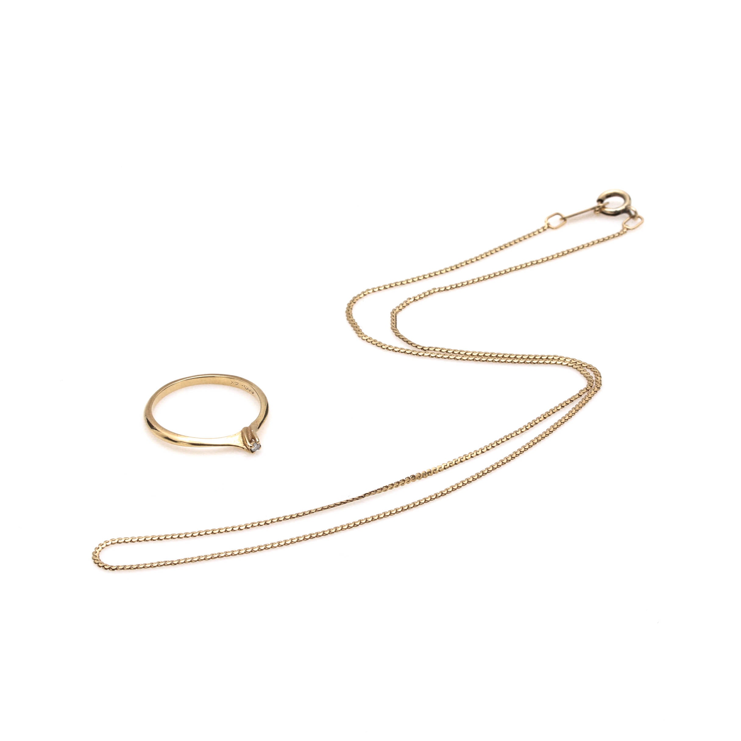 14K Yellow Gold Necklace and Diamond Ring