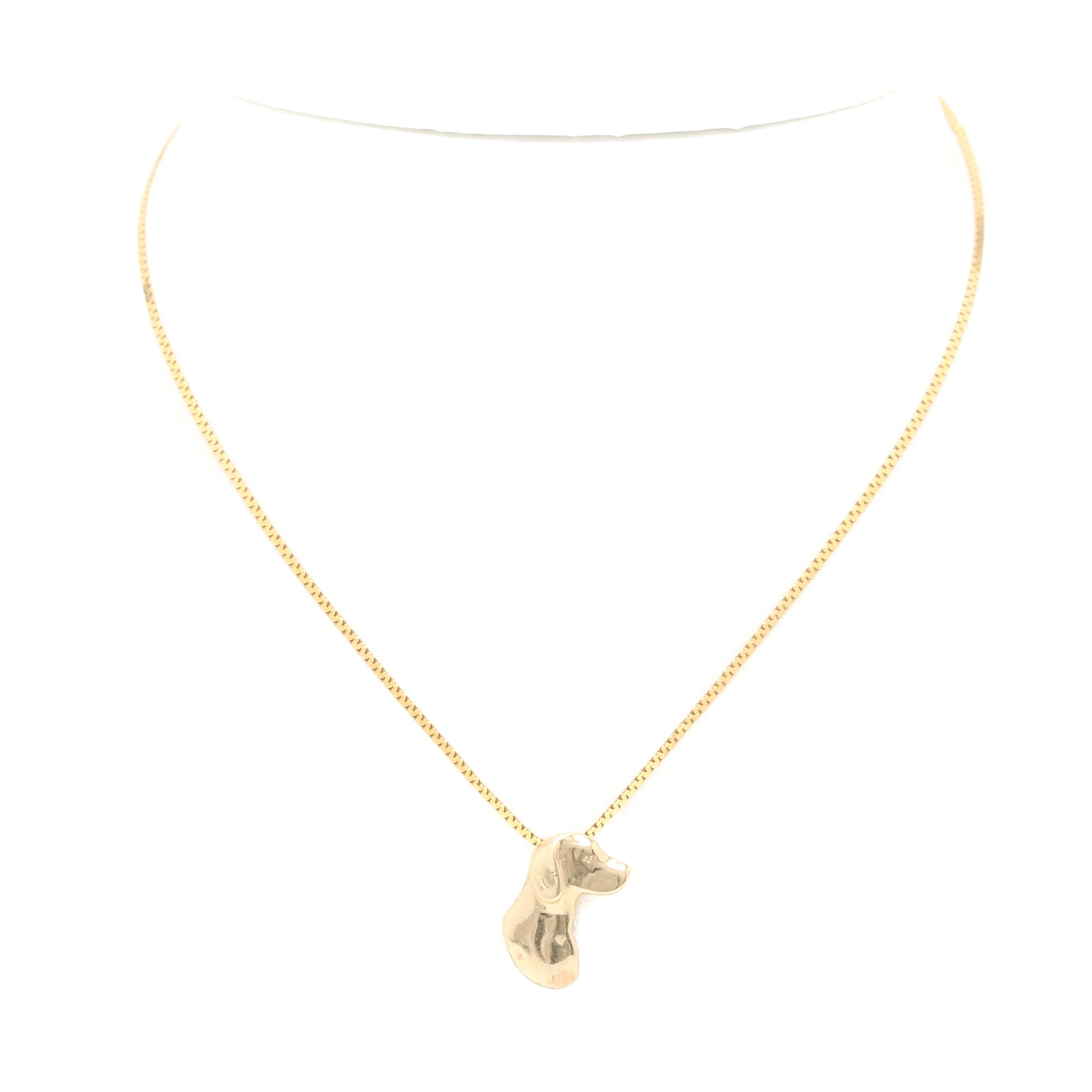 14K Yellow Gold Dog Pendant Necklace