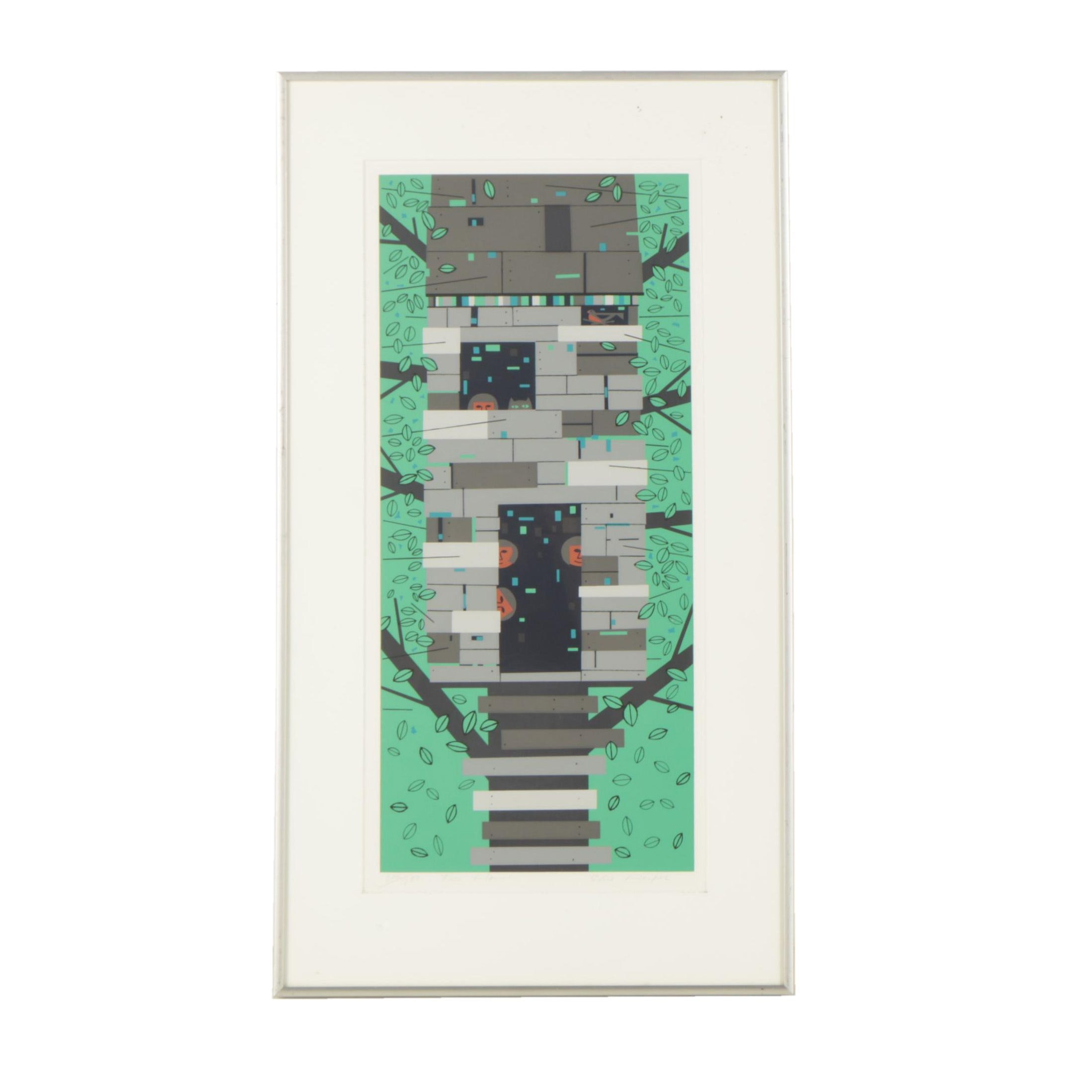 """Edie Harper Limited Edition Serigraph """"Tree House"""""""