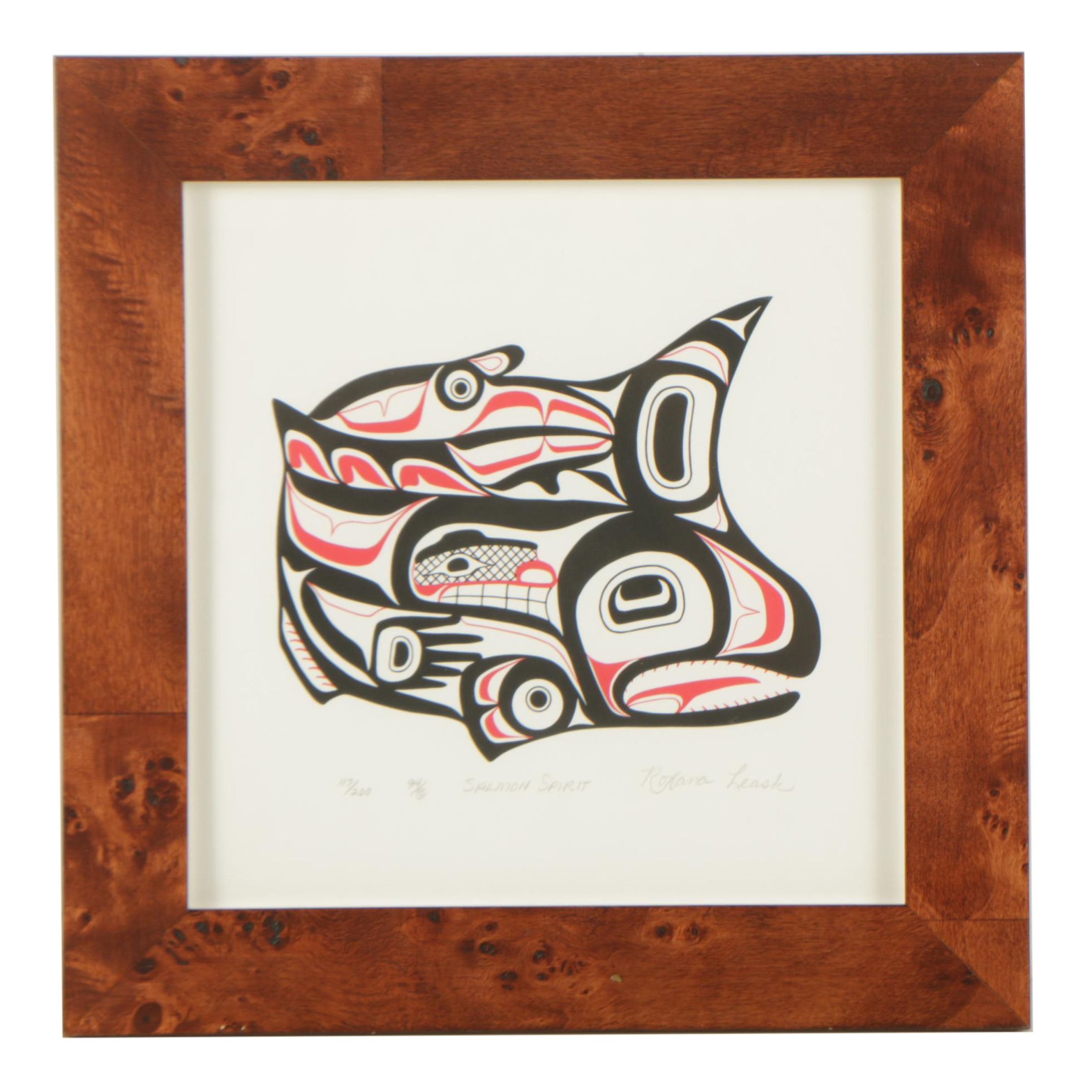 "Roxana Leask 1994 Serigraph of Tsimshian Imagery ""Salmon Spirit"""