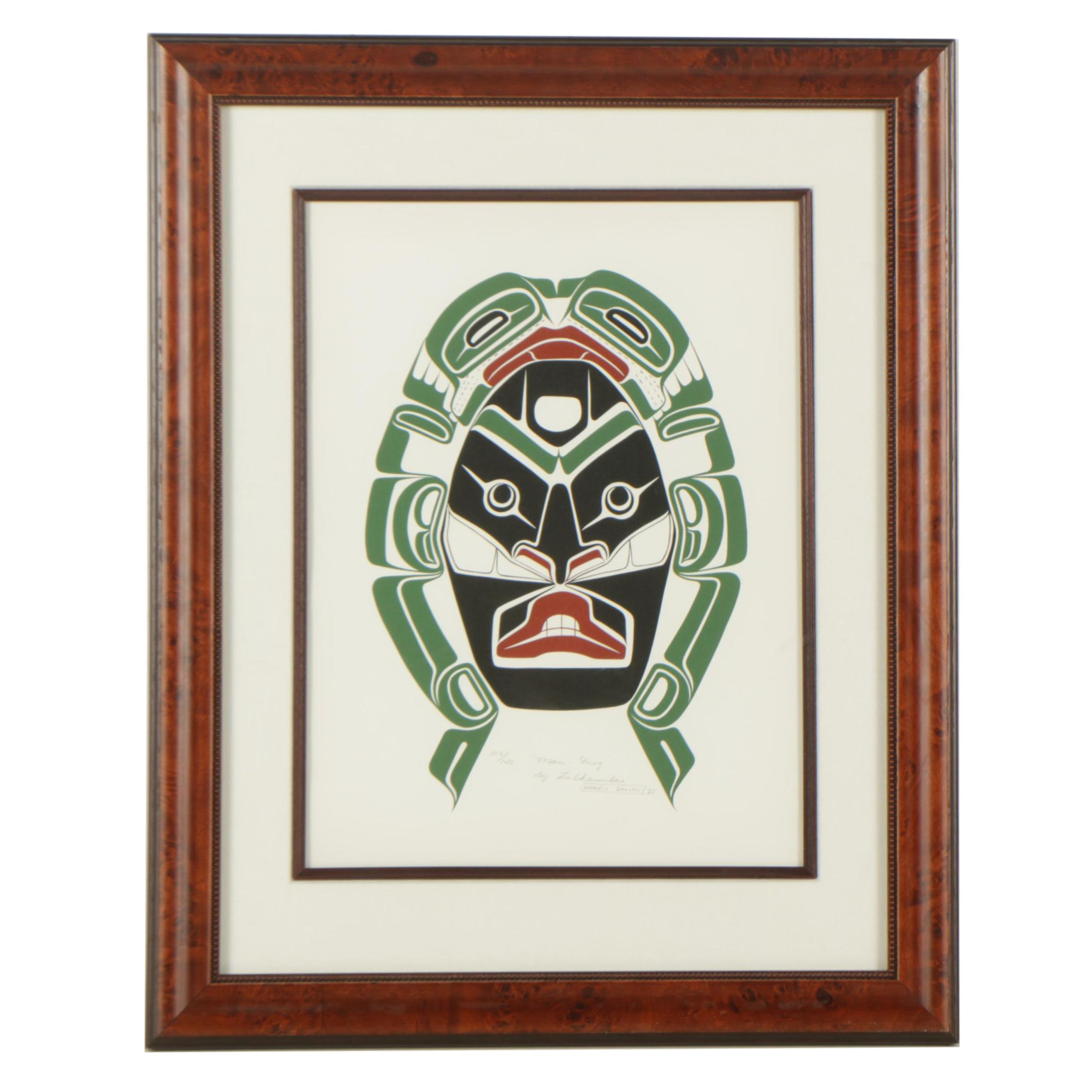 "Harris Smith Lalkawilas 1985 Serigraph of Kwakwaka'wakw Imagery ""Man-Frog"""