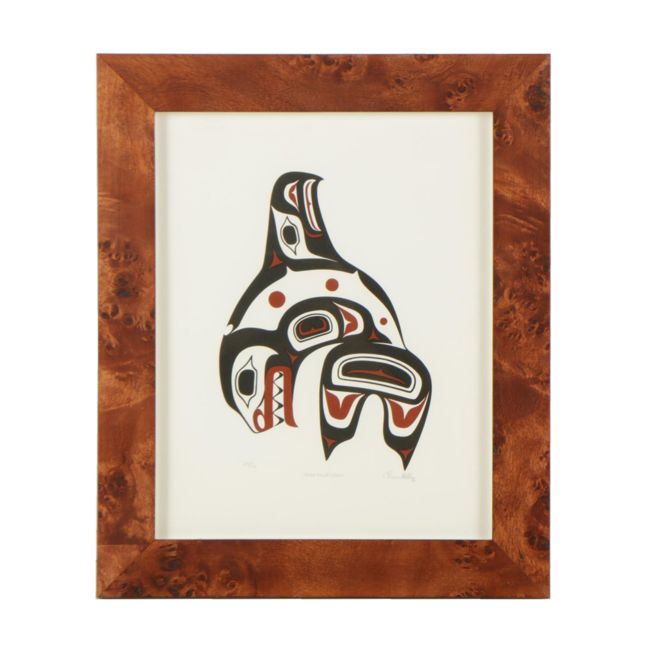 "Clarence Mills 1996 Serigraph of Haida Imagery ""Haida Killer Whale"""