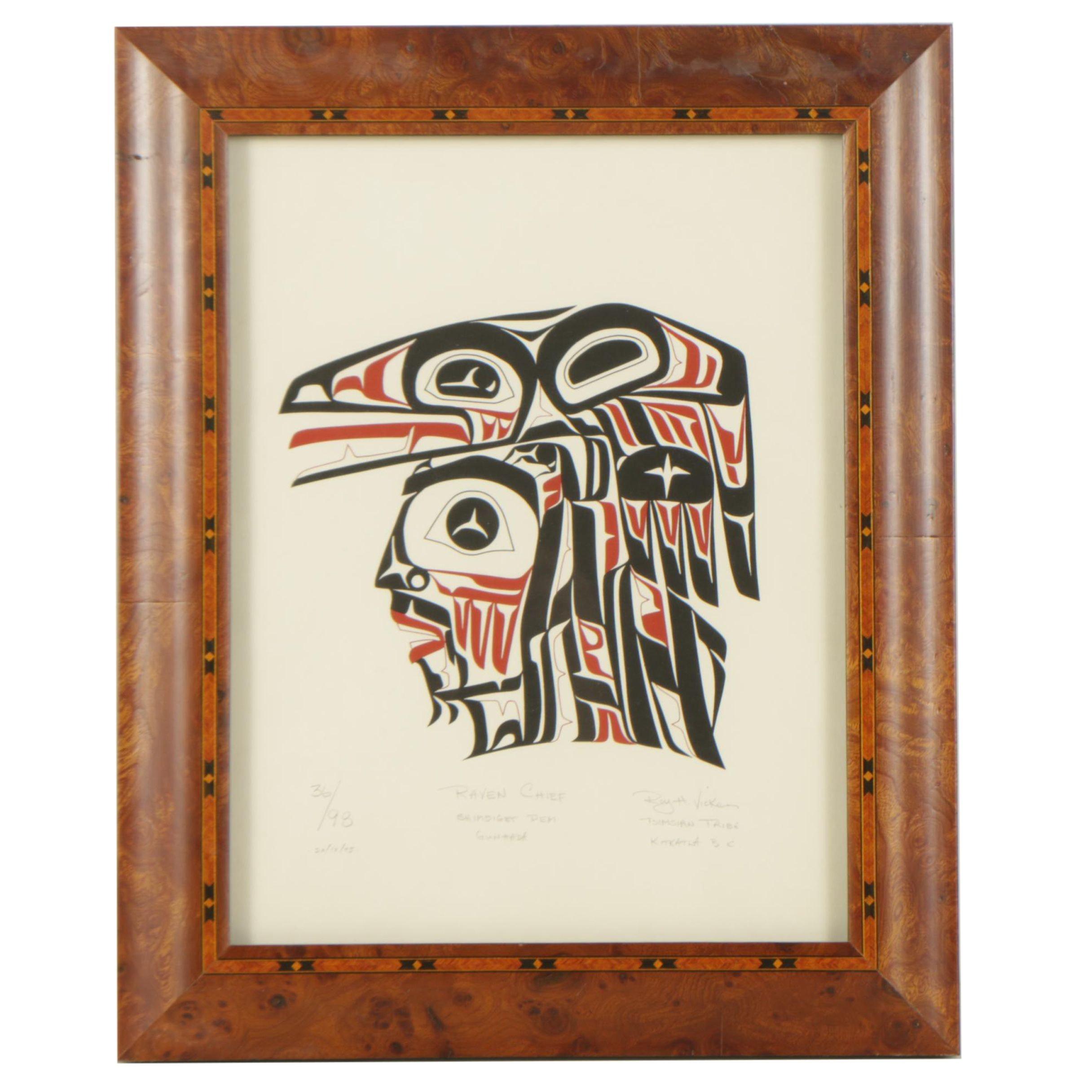 "Roy Henry Vickers 1975 Serigraph ""Raven Chief Shimdiget Dem Gunhada"""
