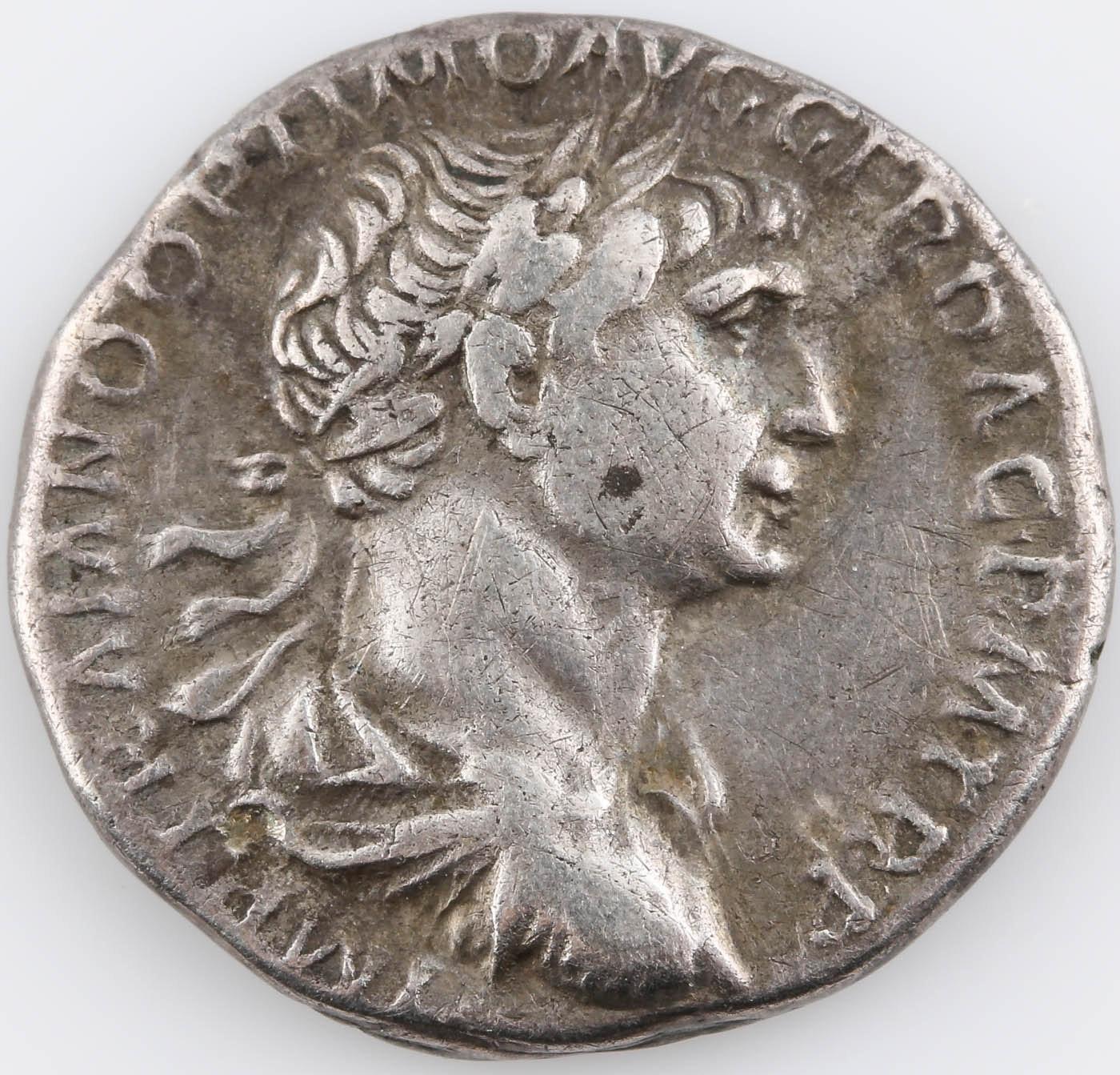 Ancient Roman Silver Denarius Coin: Trajan 98-117 A.D.
