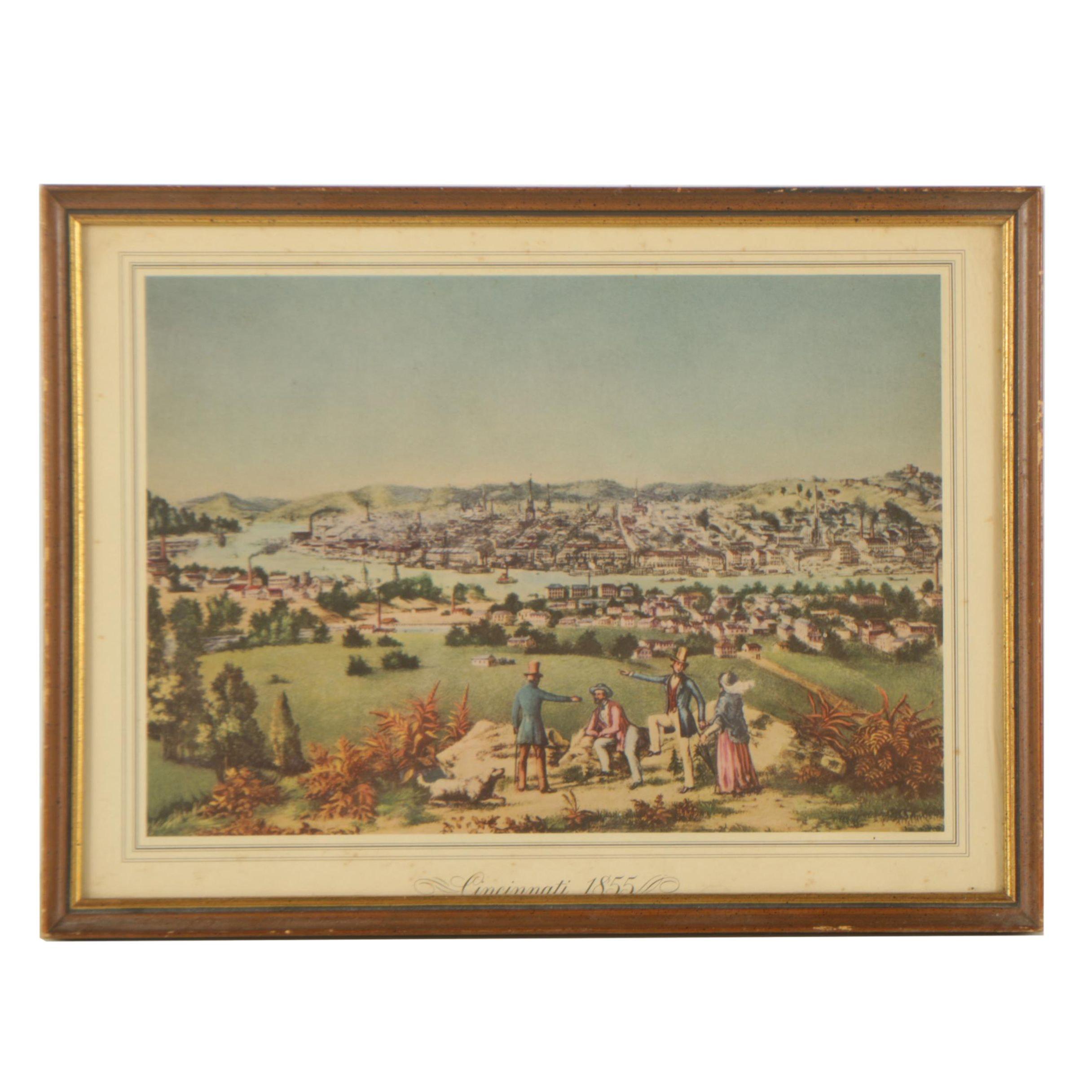 """Offset Lithograph """"Cincinnati 1855"""""""