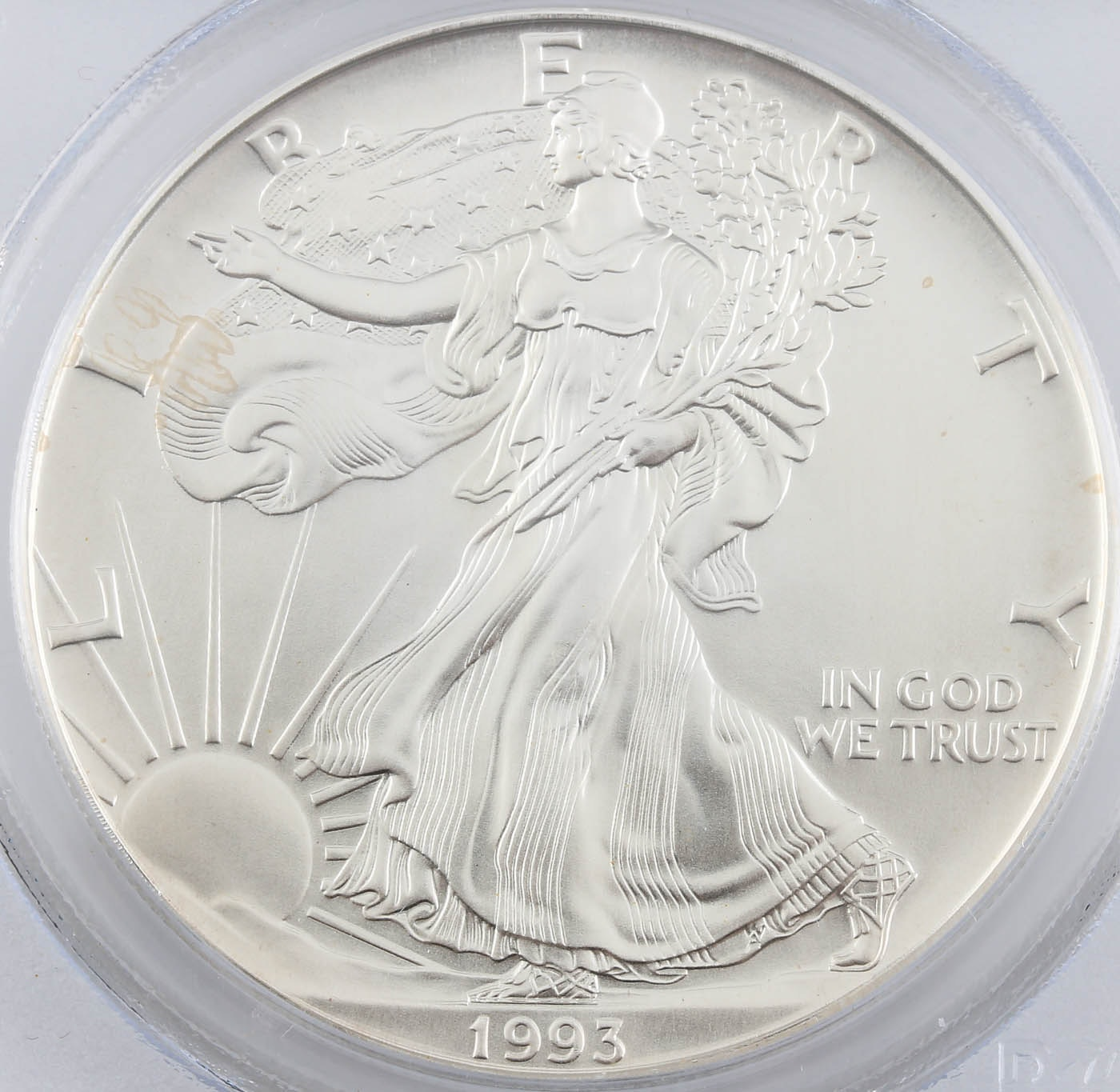 Encapsulated 1993 One Dollar U.S. Silver Eagle in Gem Uncirculated Condition