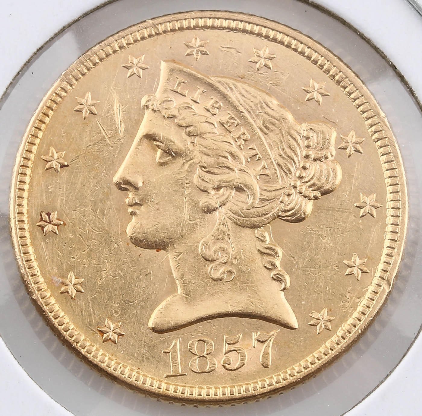 1857 Liberty Head $5 Gold Coin