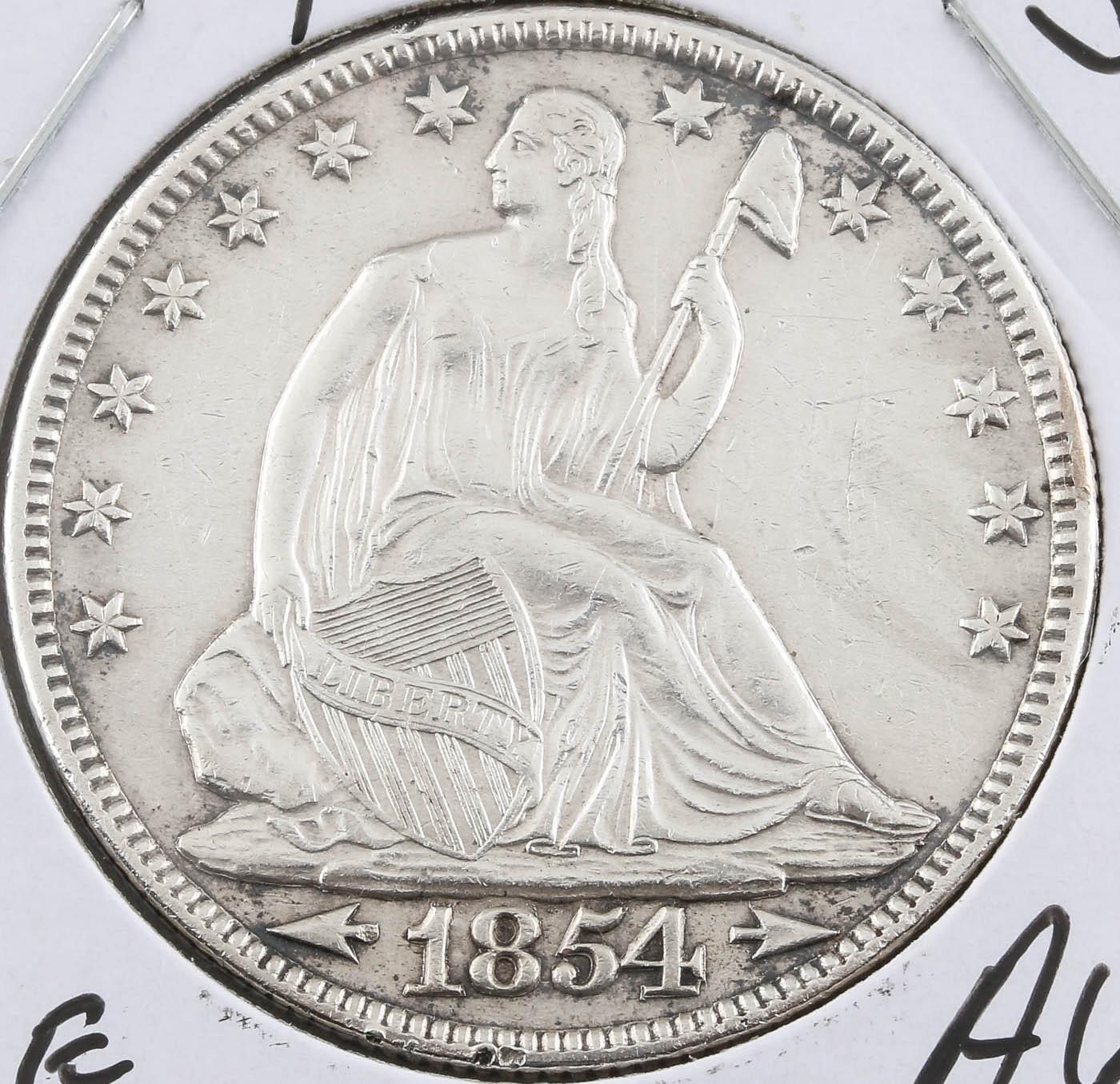 1854 Seated Liberty Silver Half Dollar