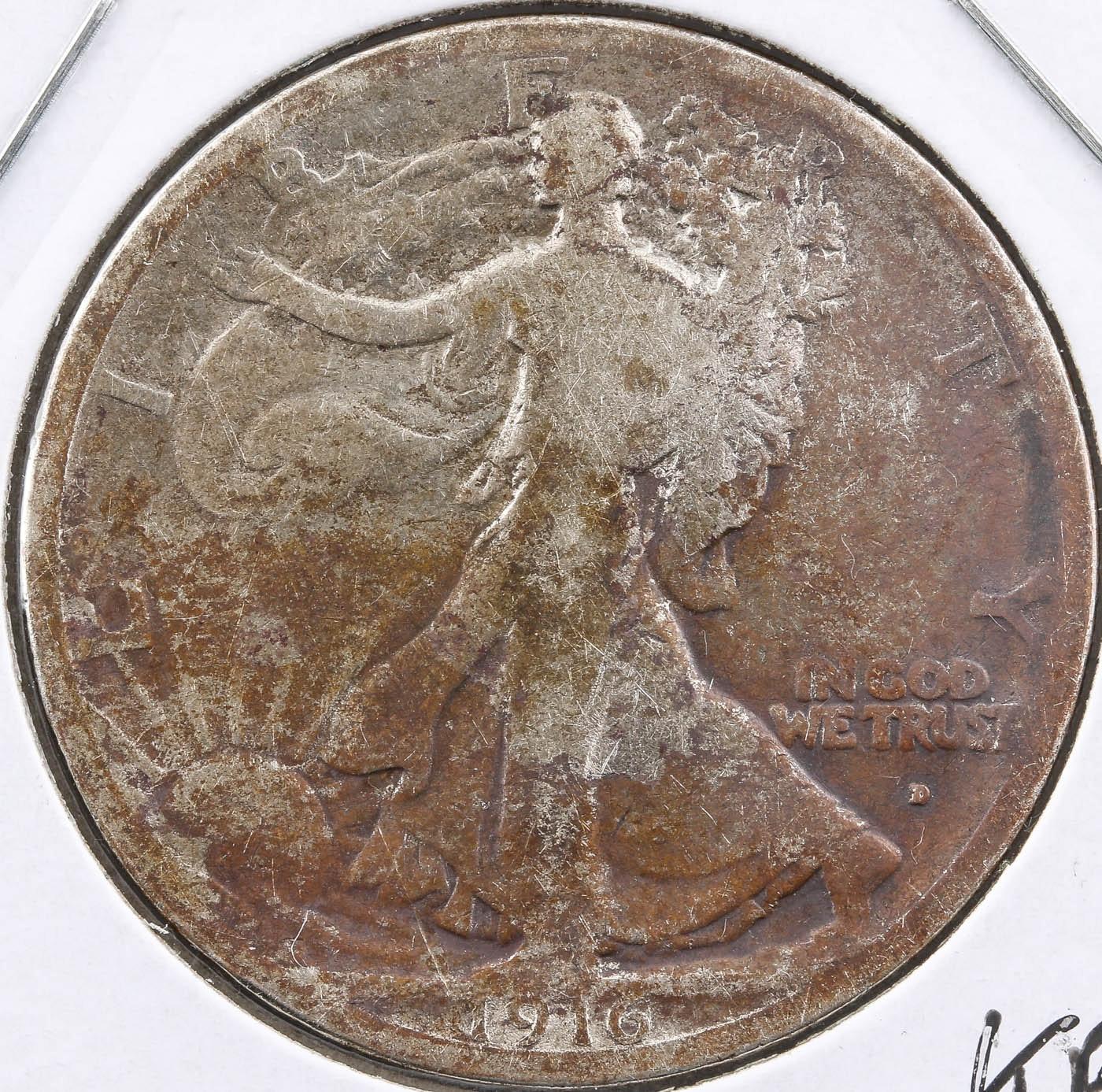 1916-D Obverse Walking Liberty Silver Half Dollar