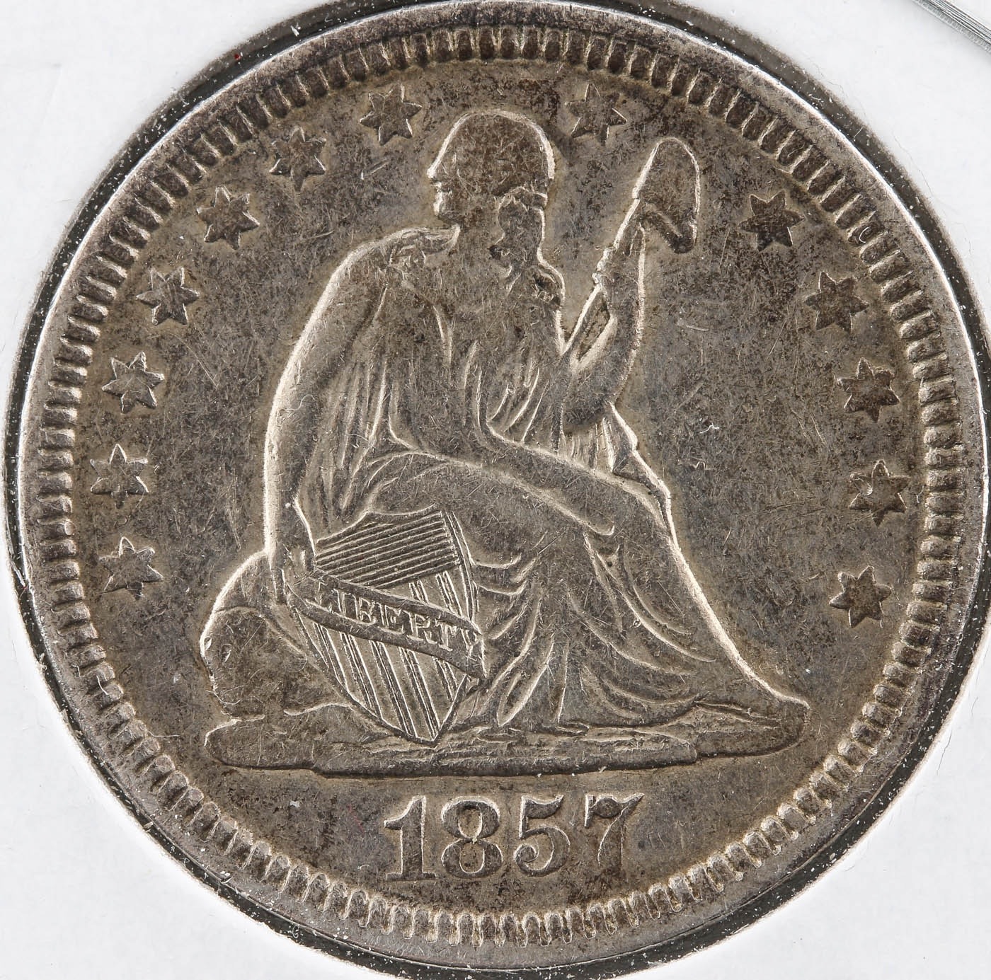 1857 Seated Liberty Silver Quarter