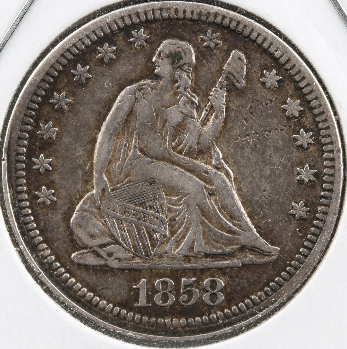 1858 Seated Liberty Silver Quarter