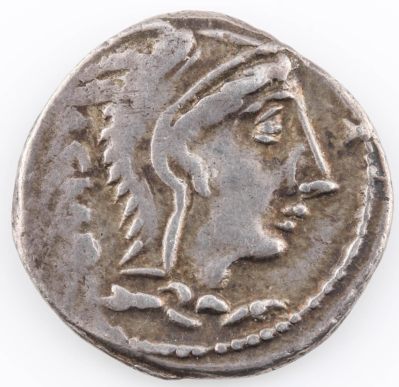 Ancient Roman Republic L. Thorius Balbus (105 B.C.) Silver AR Denarius Coin