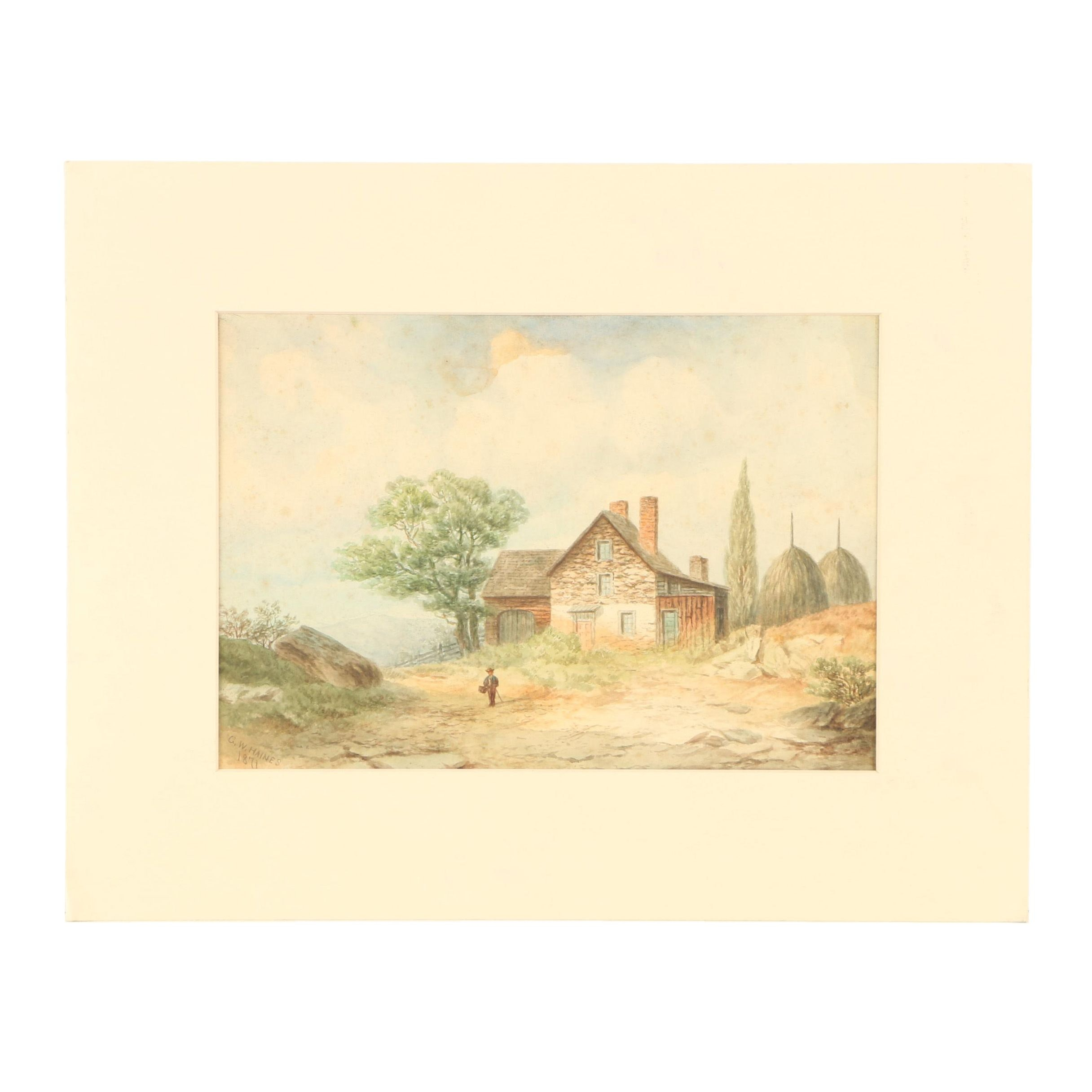 George W. Haines 1871 Watercolor Painting of European Farm Landscape Scene