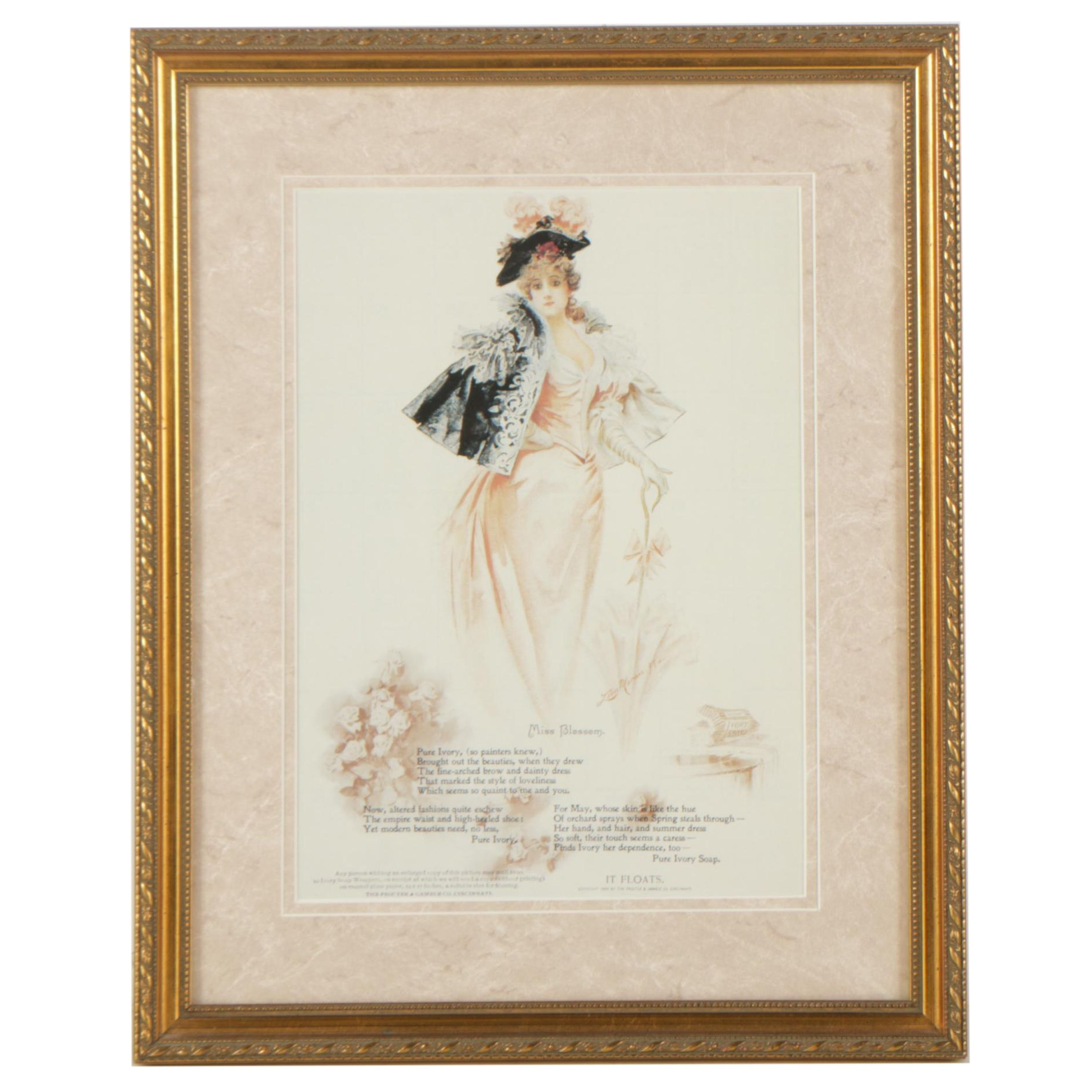 "Offset Lithograph After Leon Moran ""Miss Blossom"" Ivory Soap Advertisement"
