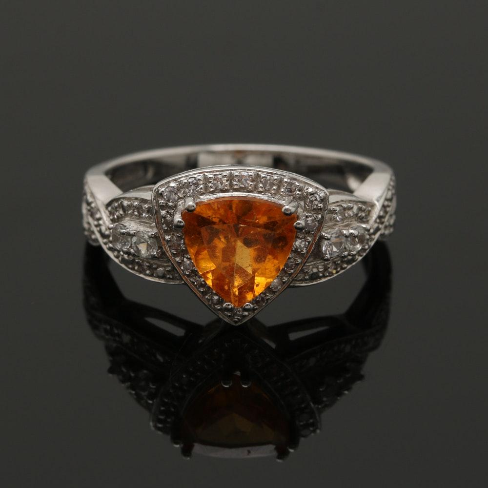 14K White Gold 1.01 CT Hessonite Garnet, White Sapphire and Diamond Ring