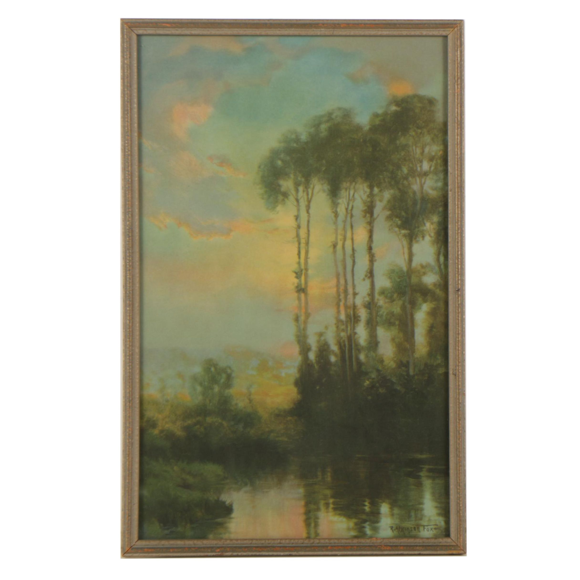 Circa 1920s Offset Lithograph After Robert Atkinson Fox Sunrise Landscape