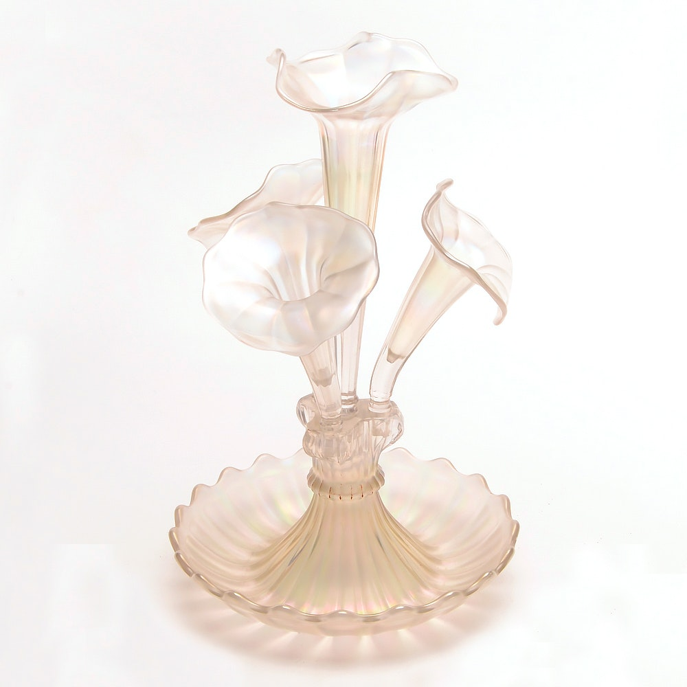 "Vintage Northwood ""Wide Panel"" Four-Horn Carnival Glass Epergne"