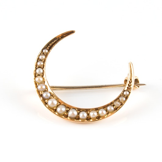 14K Yellow Gold Crescent Brooch, Circa 1890s