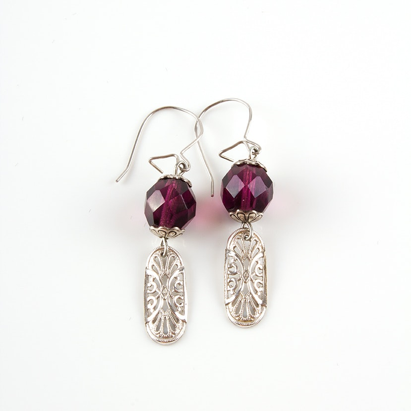 Art Deco Style Filigree Drop Earrings with Glass Crystals