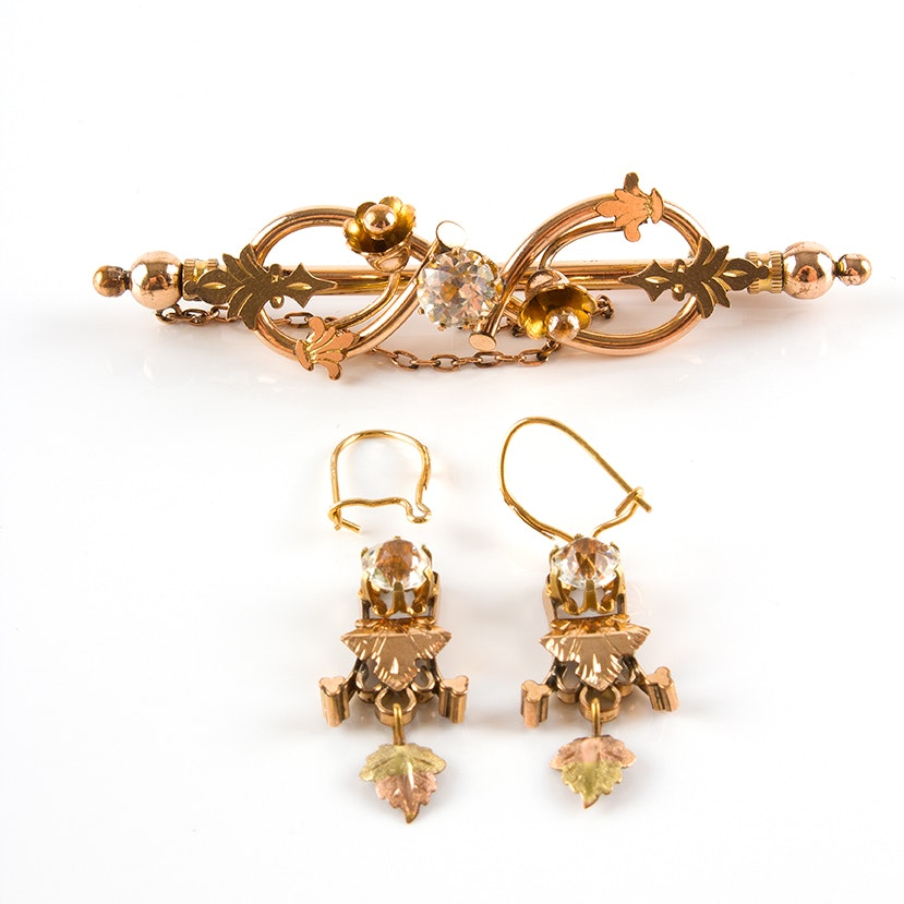 Victorian Earrings with 14K Gold Hooks and Gold Filled Brooch