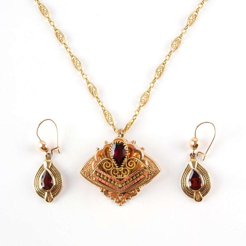 Victorian Garnet Necklace and Earrings