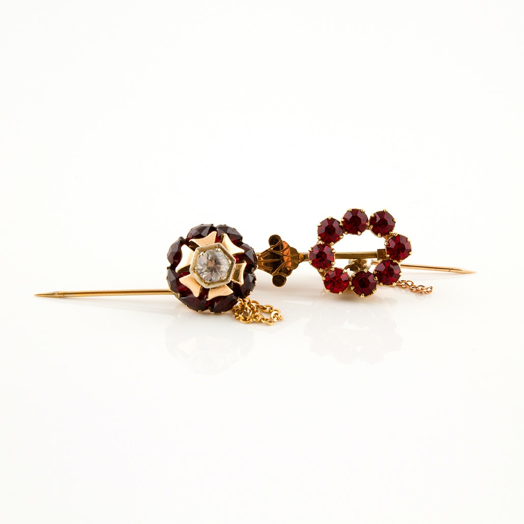 Victorian 14K and 10K Gold and Sterling Flower Pins Featuring Garnets