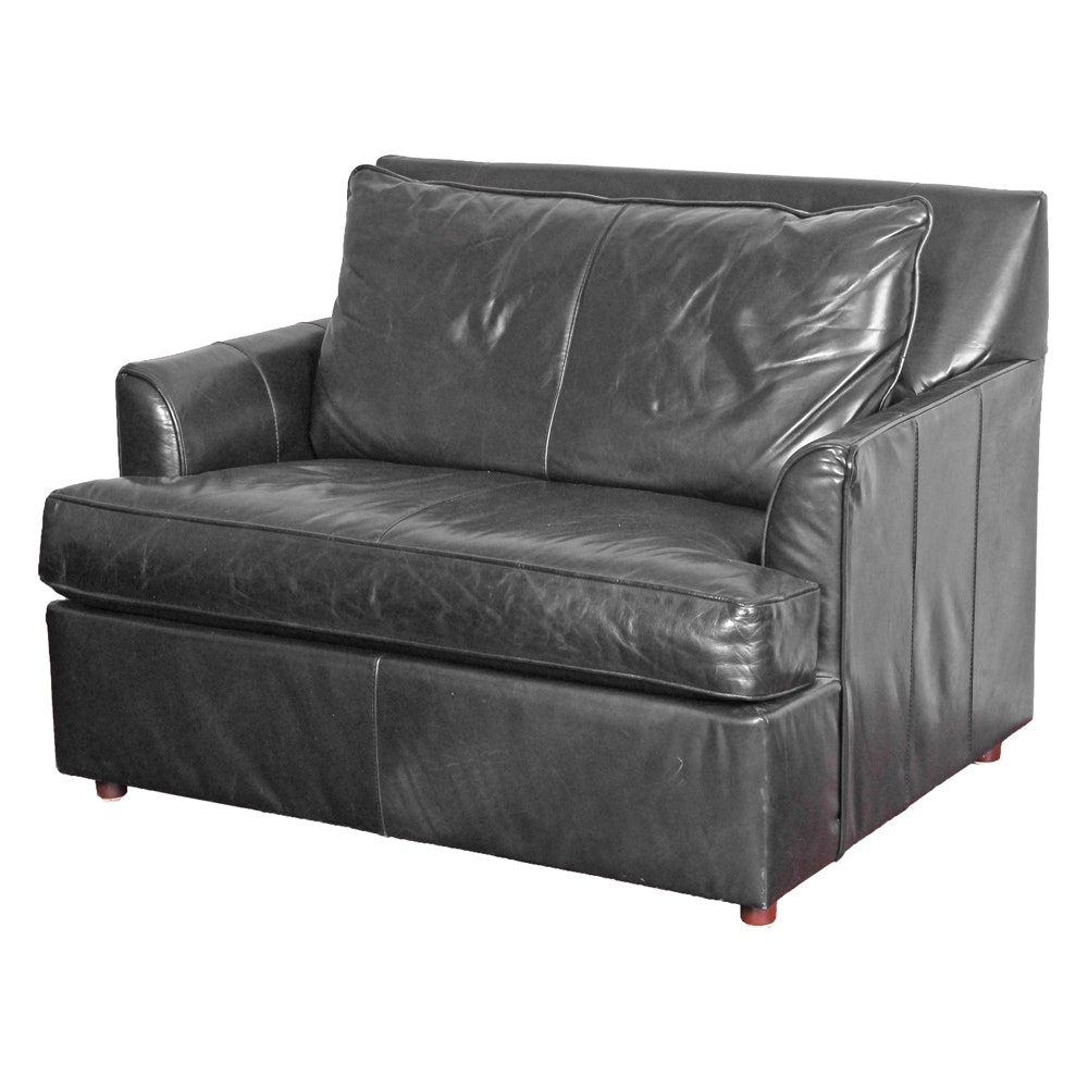 Ordinaire Oversized Leather Club Chair With Twin Sleeper ...