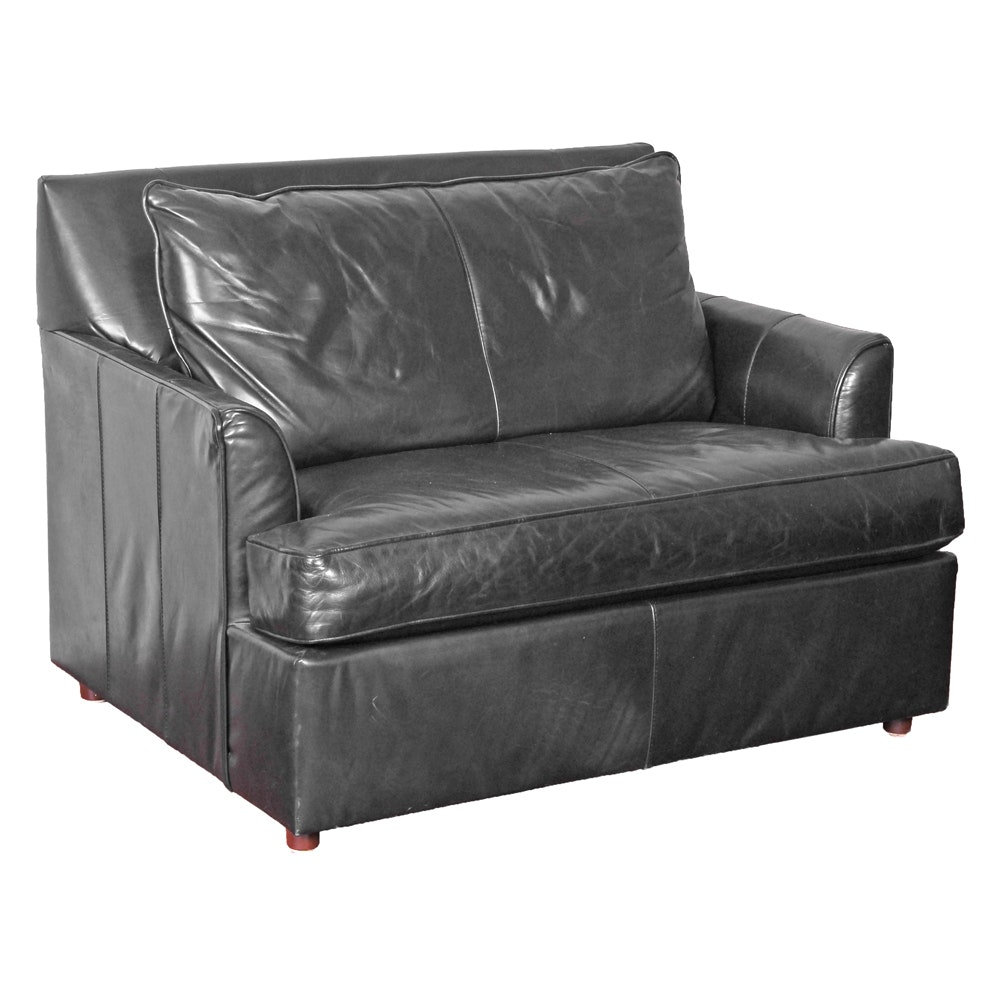 Oversized Leather Club Chair with Twin Sleeper
