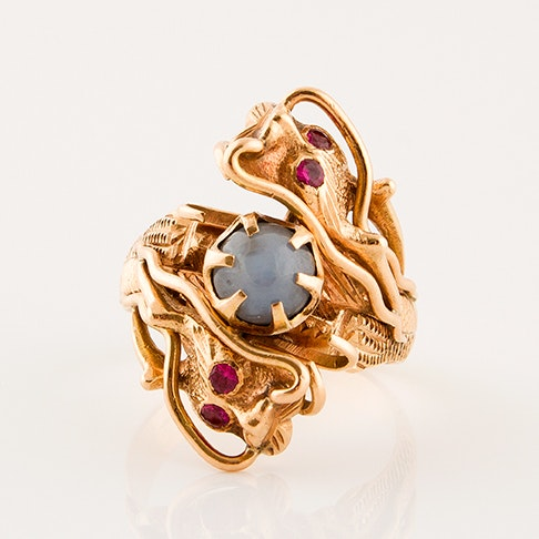 14K Yellow Gold Sapphire and Ruby Dragon Ring