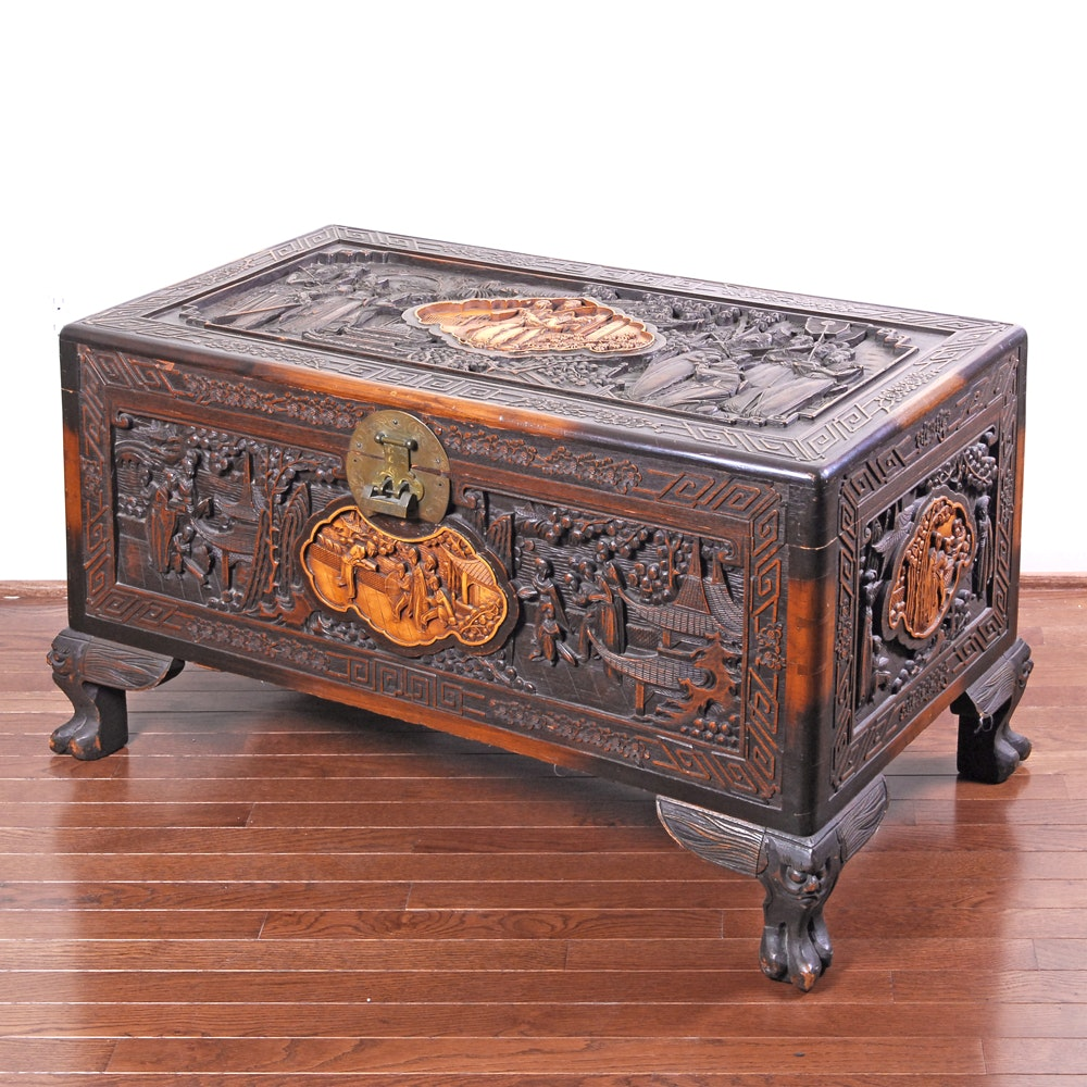 Chinese Carved Wood Trunk Table with Glass Top
