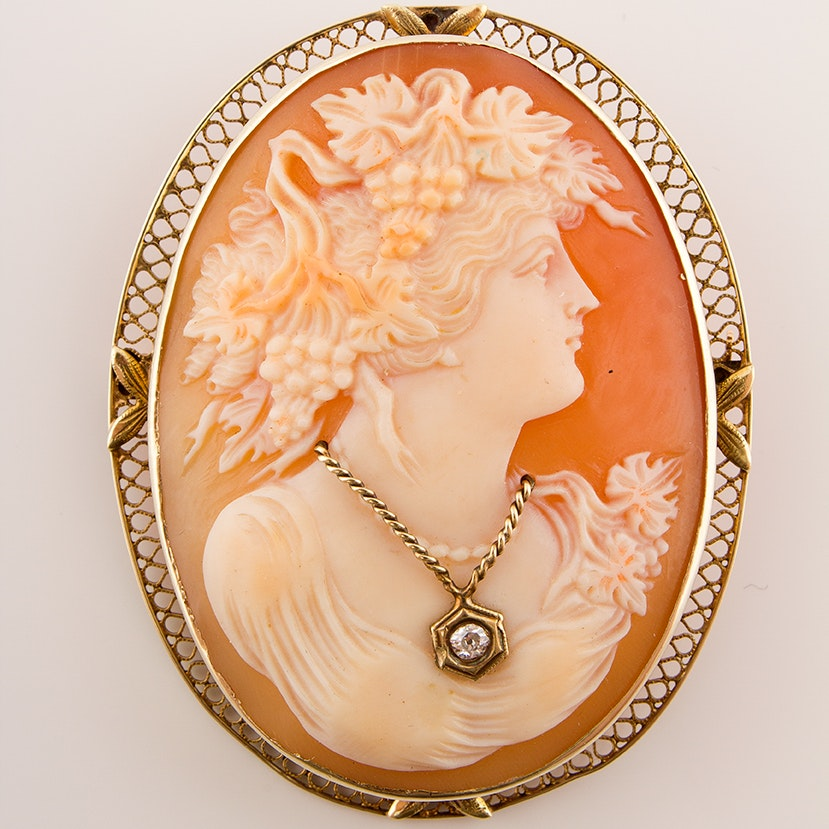 Circa 1920 10K Yellow Gold Diamond Habillé and Carved Helmet Shell Cameo Brooch