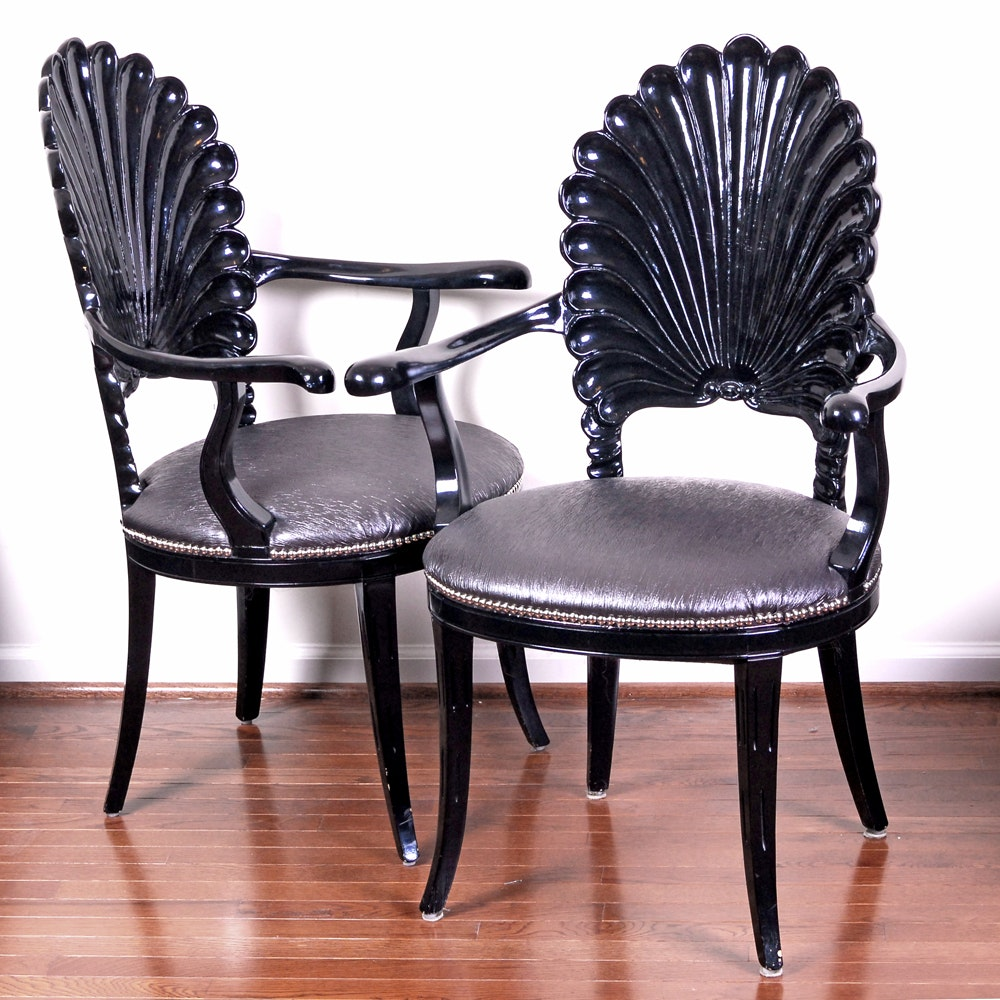Pair of Hollywood Regency Style Shell Back Armchairs