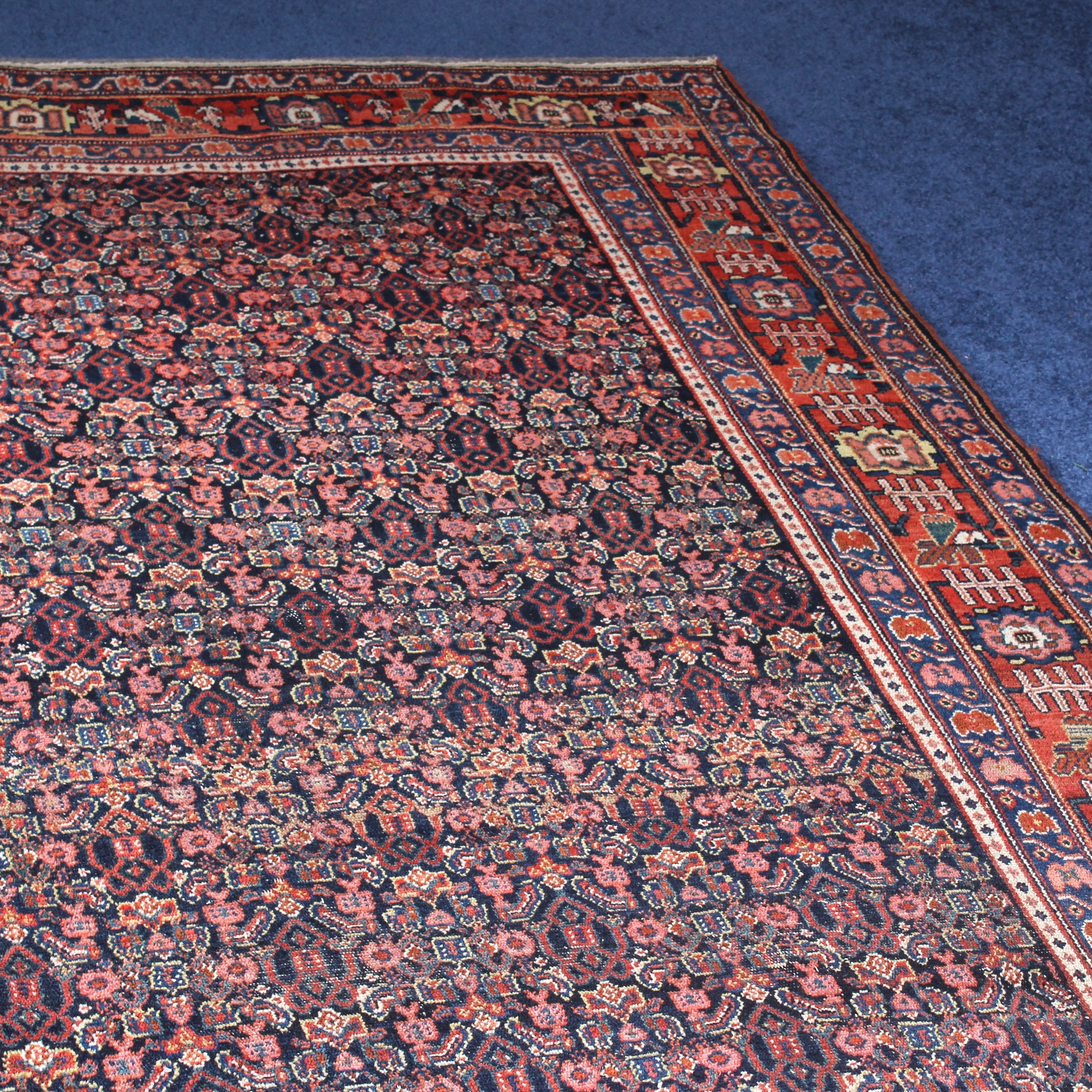 Semi-Antique Room Sized Hand-Knotted Bijar Wool Area Rug