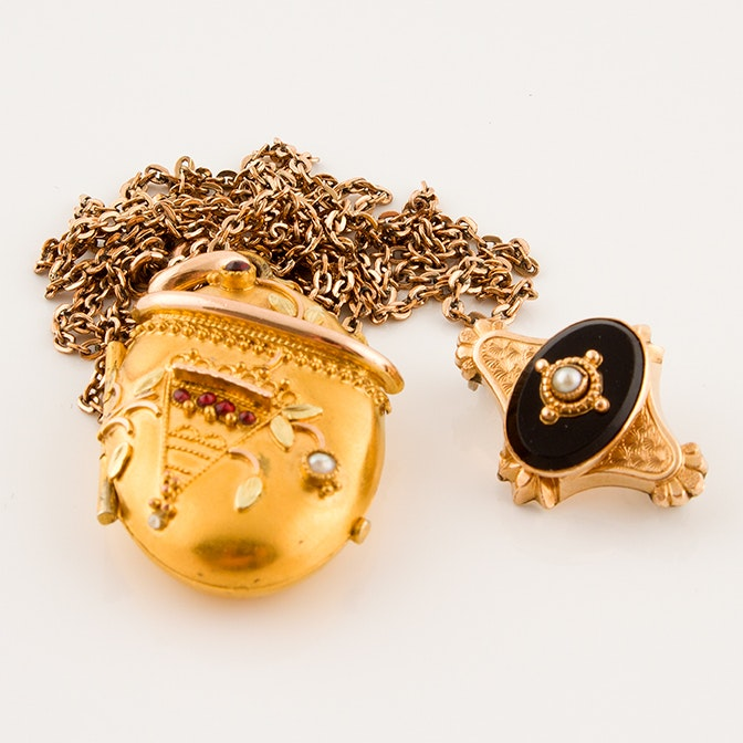 Victorian Mourning Locket and Collar Pin Featuring Garnet and Pearl, Circa 1880s