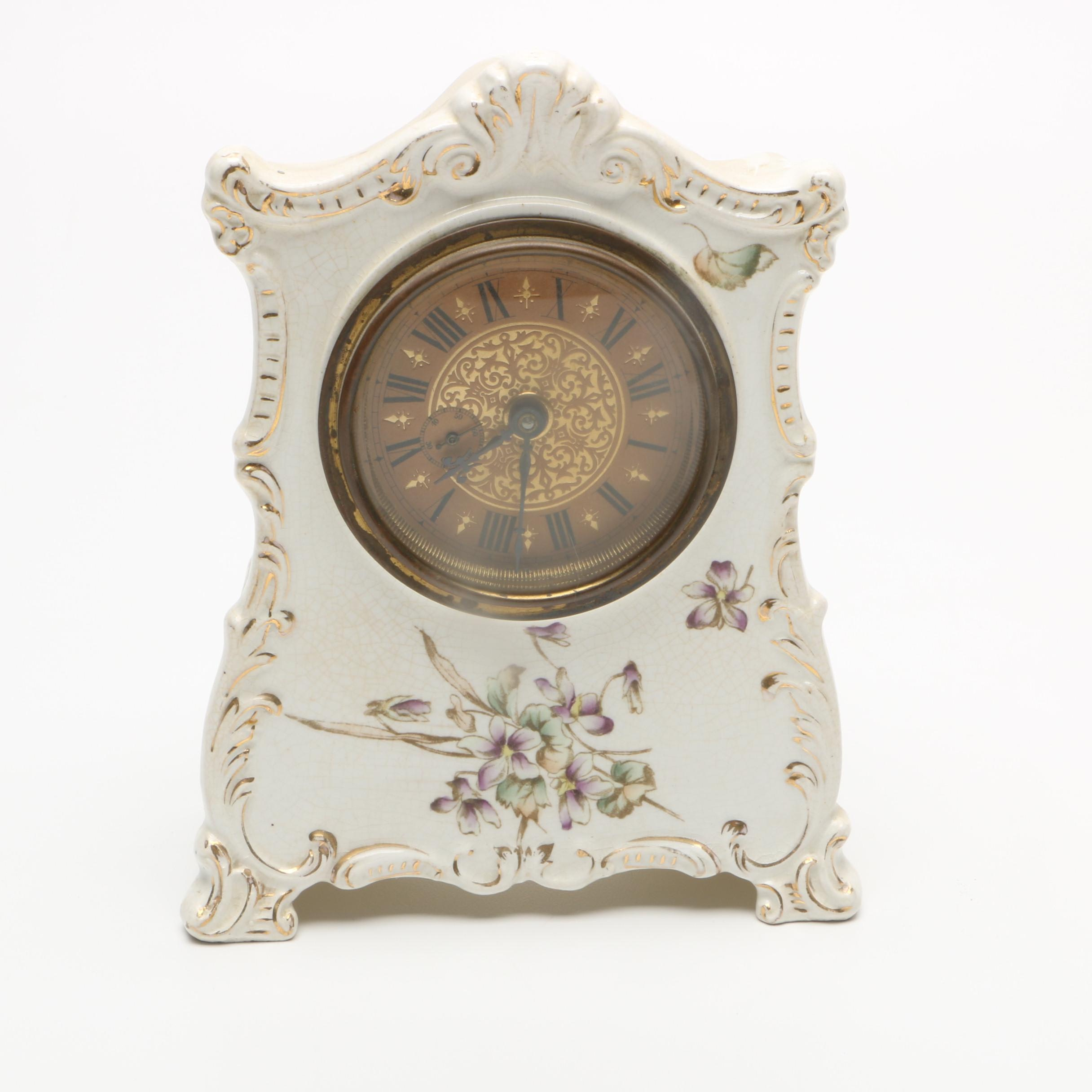Vintage Ornate Porcelain Mantel Clock