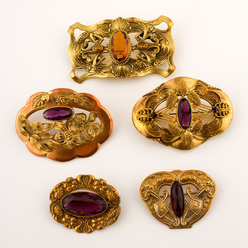 Art Nouveau Inspired Sash Brooches, Circa Early 1900s